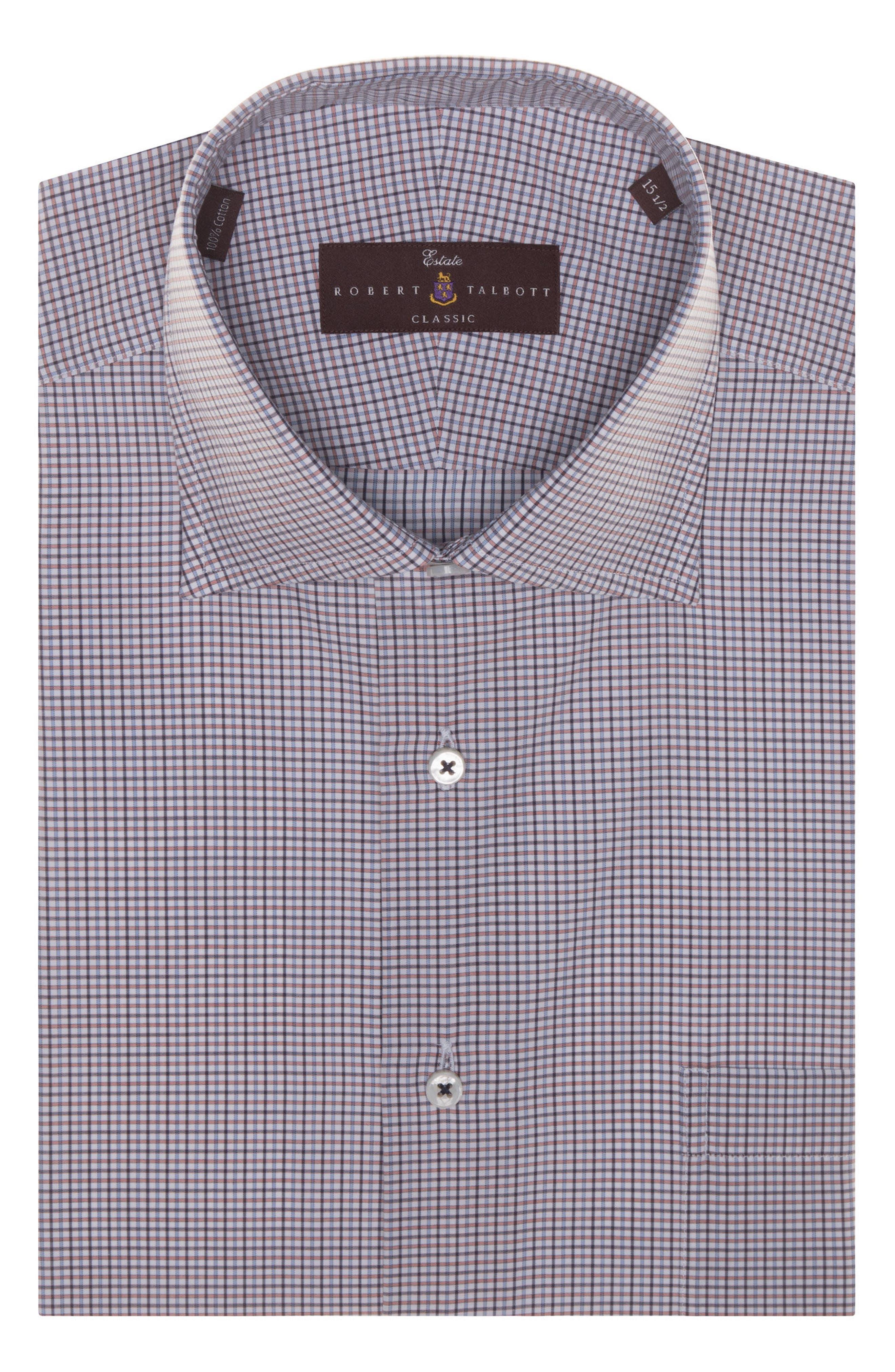 Tailored Fit Check Dress Shirt,                             Main thumbnail 1, color,                             ZINNIA