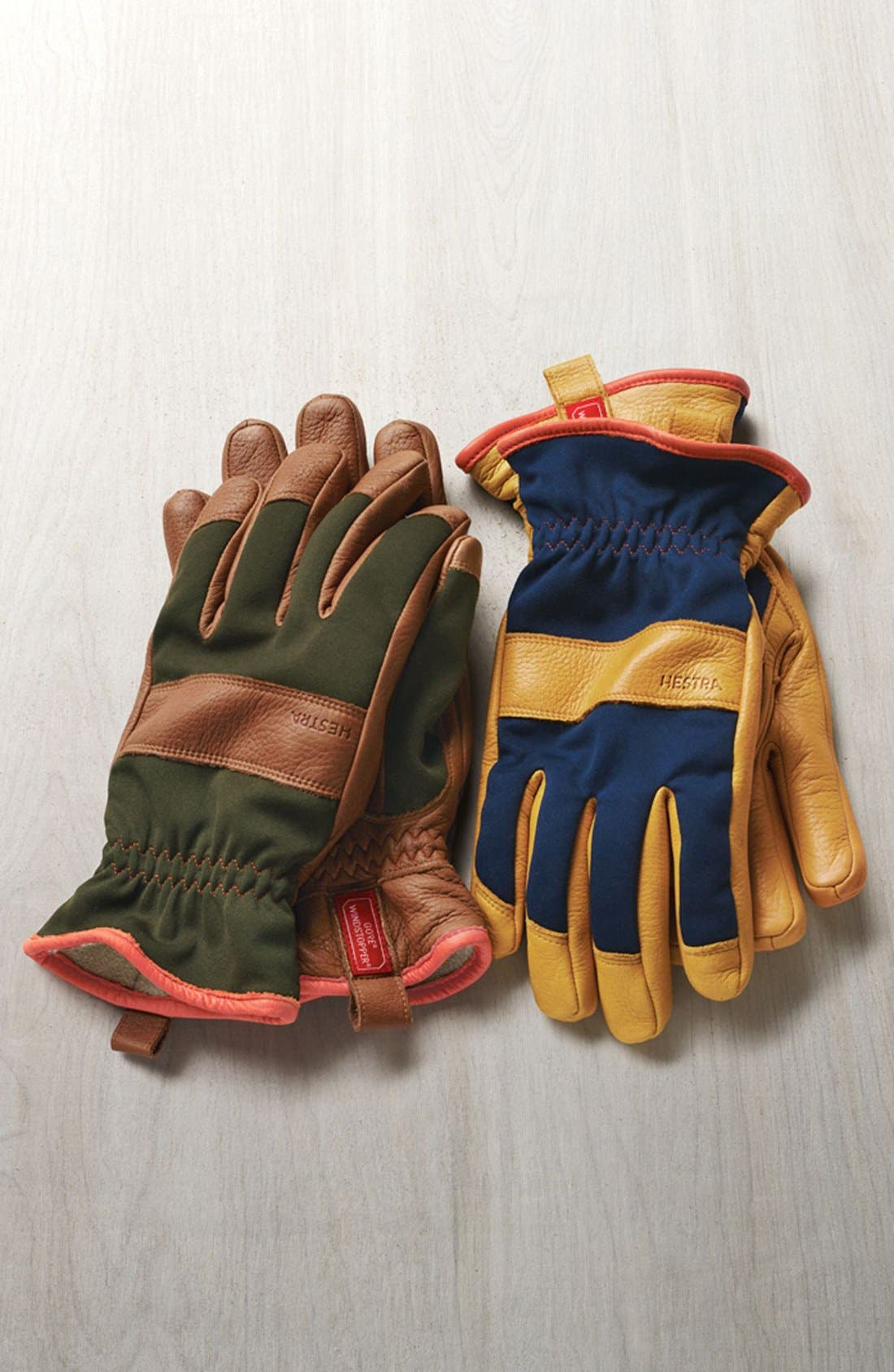 'Tor' Leather Gloves,                             Alternate thumbnail 3, color,                             DARK FOREST/ NATURAL YELLOW