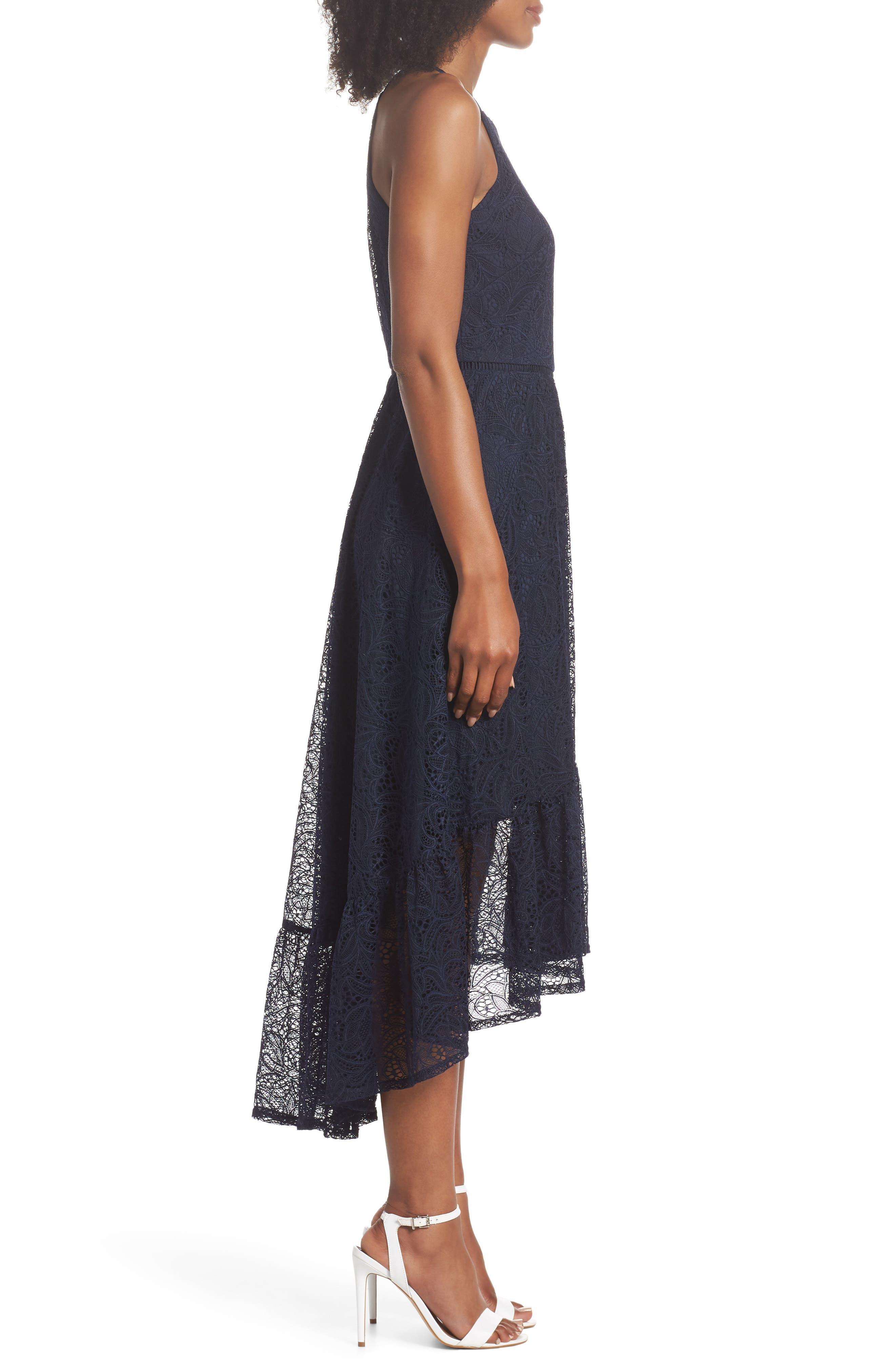 Halter Neck Lace Midi Dress,                             Alternate thumbnail 3, color,                             NAVY