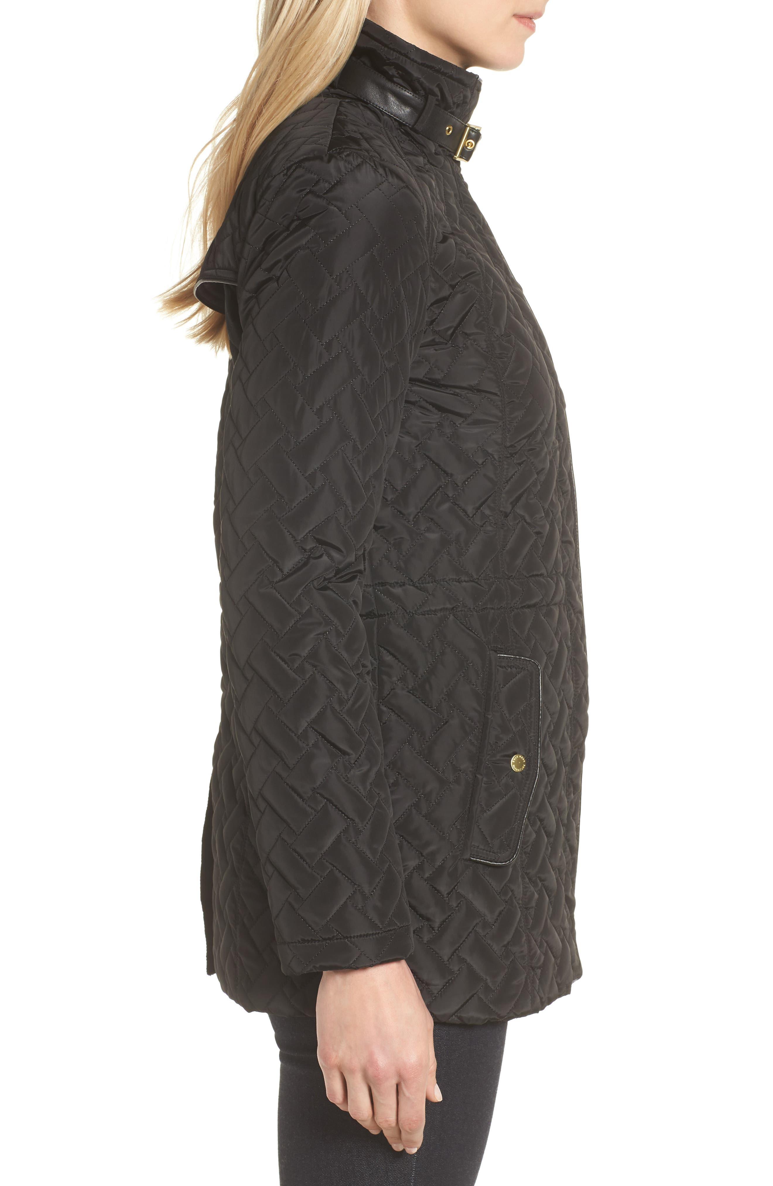 Quilted Short Coat,                             Alternate thumbnail 3, color,                             BLACK