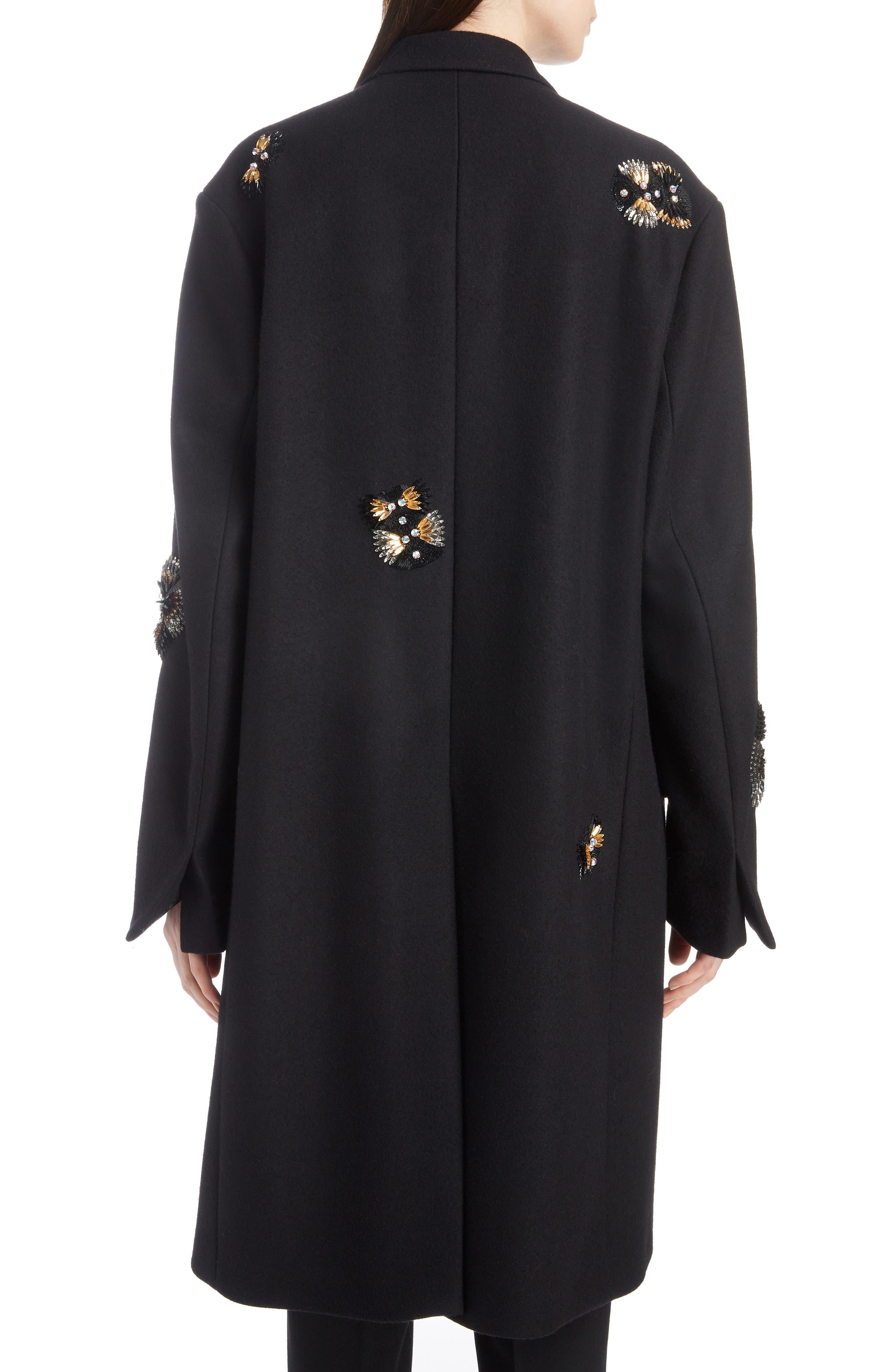 Embellished Wool Blend Coat,                             Alternate thumbnail 2, color,                             BLACK