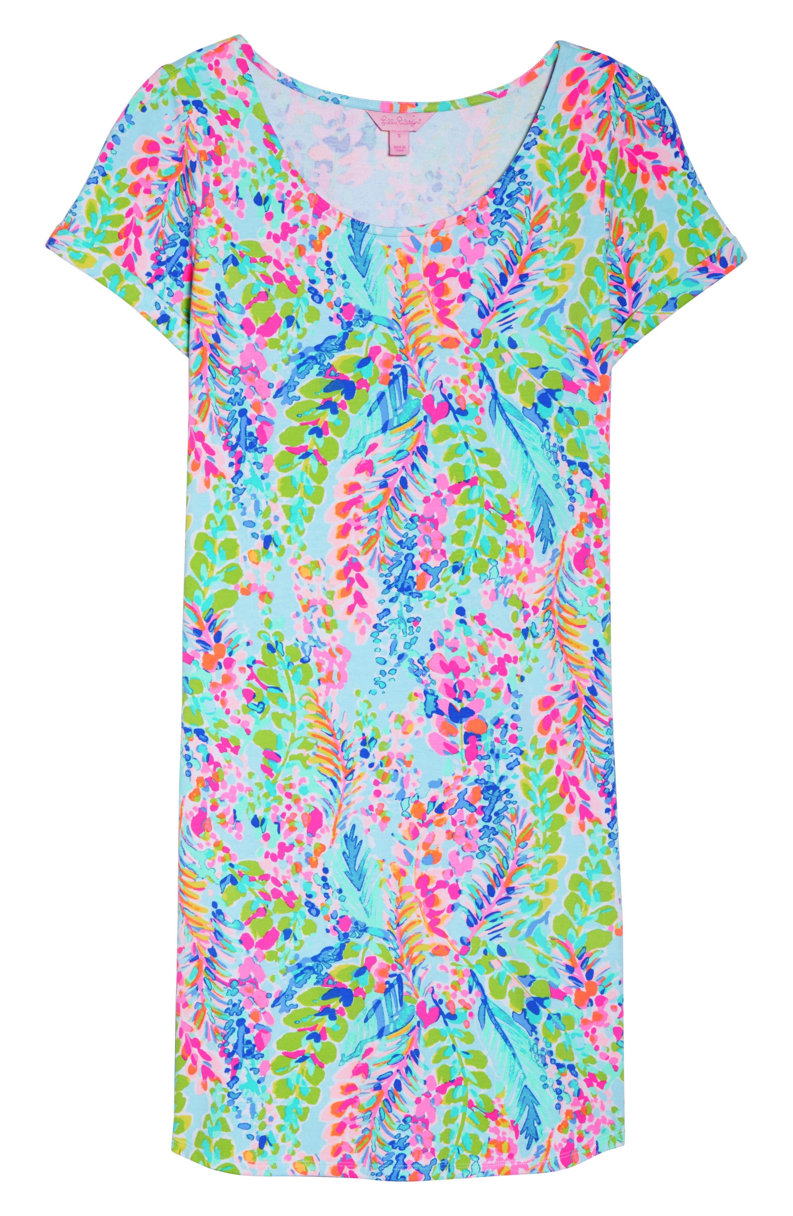 Tammy UPF 50+ Print Shift Dress,                             Alternate thumbnail 7, color,                             400