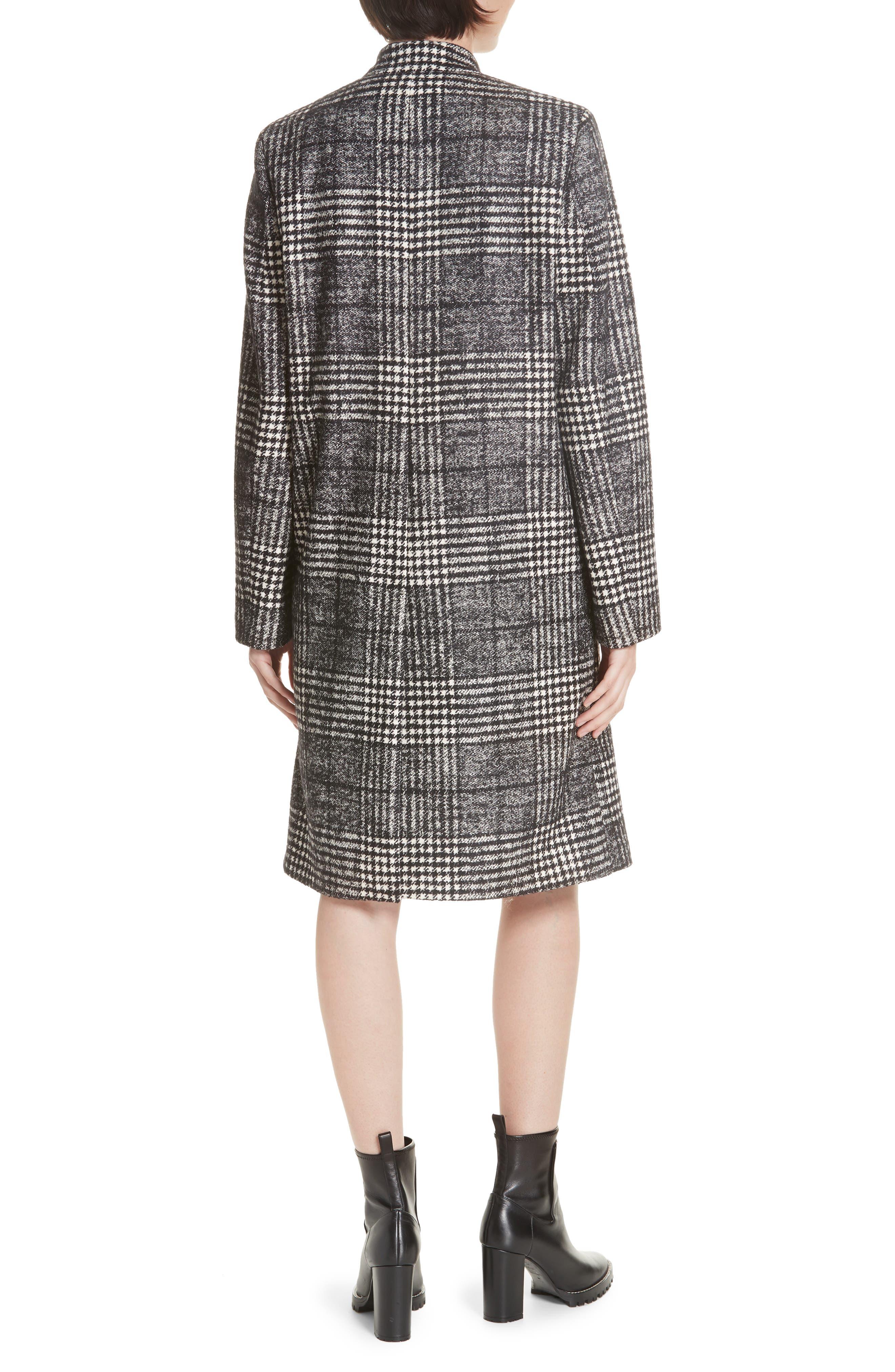 Magrete Bold Check Stretch Cotton Wool Coat,                             Alternate thumbnail 2, color,                             BLACK/ WHITE