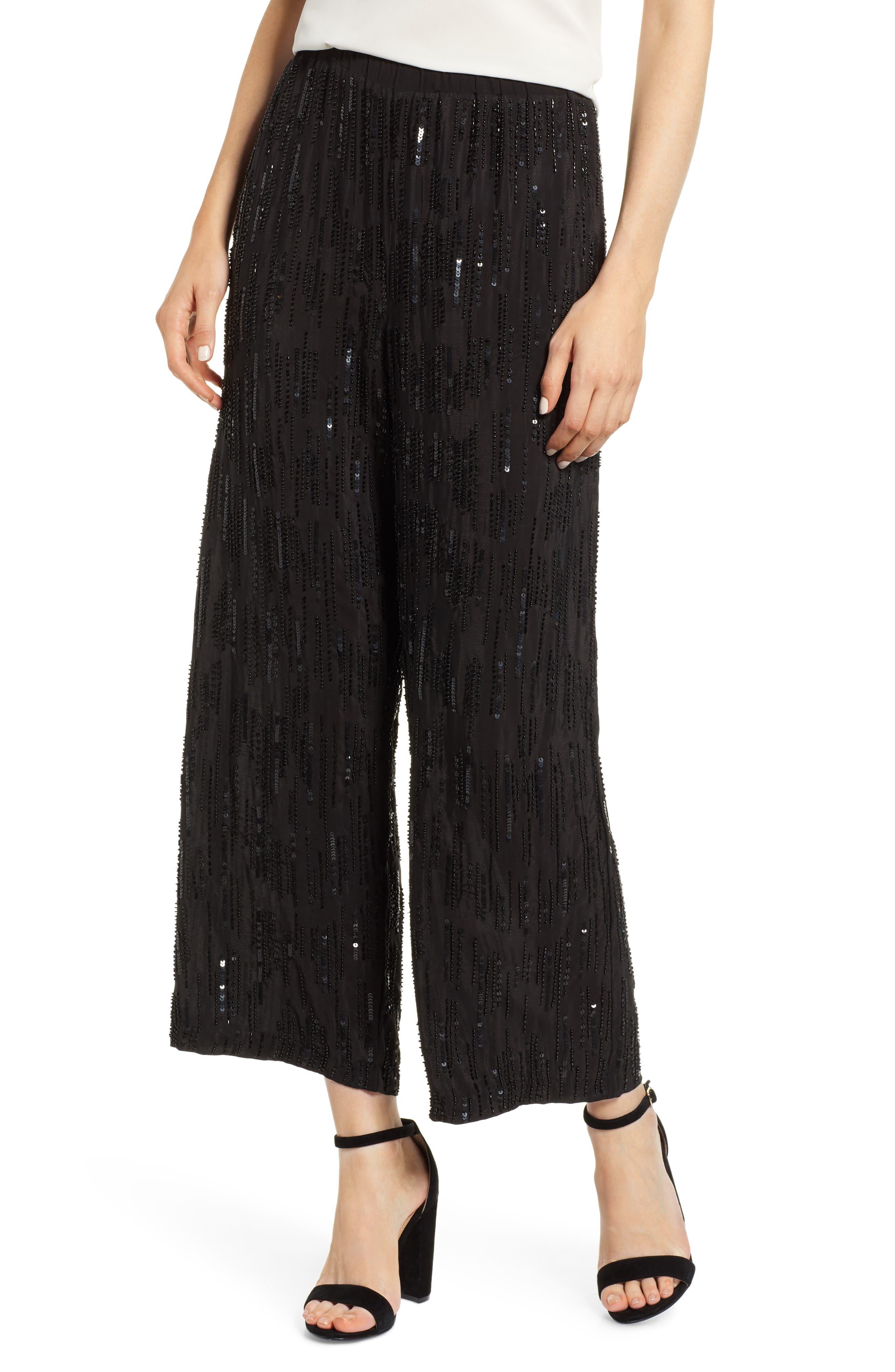 Raindrop Sequin Pants,                         Main,                         color, BLACK