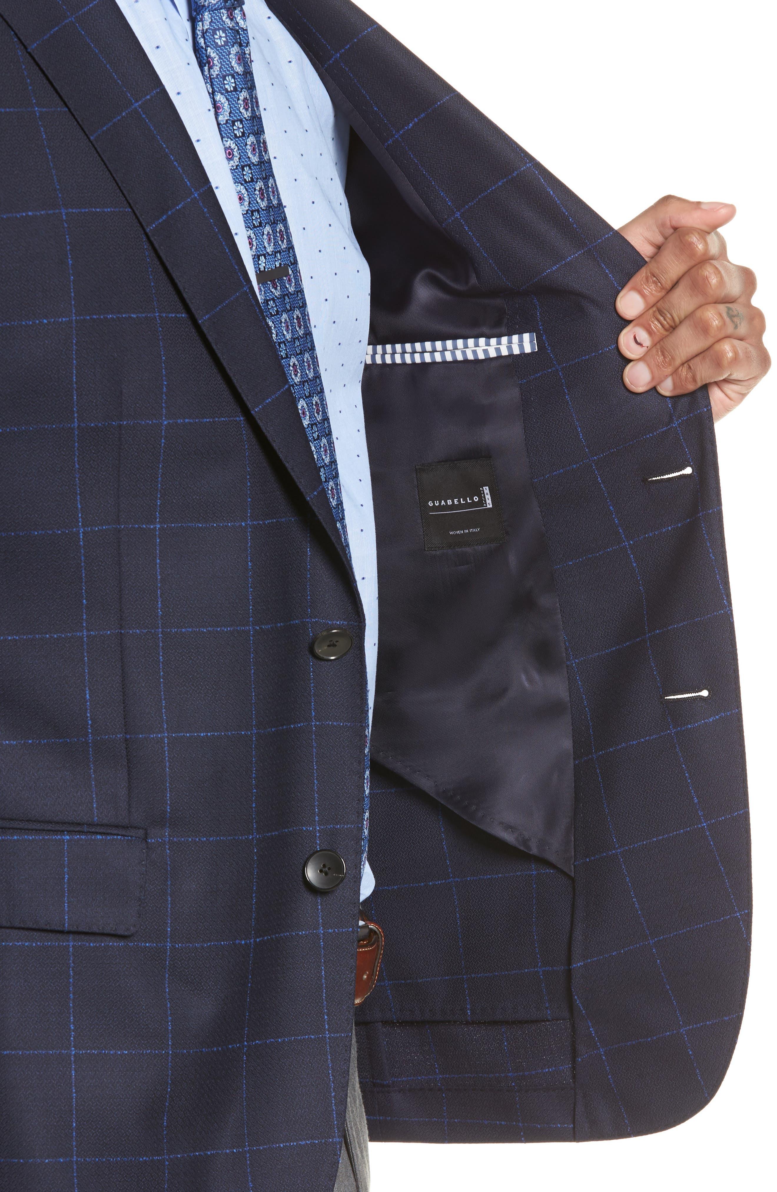 Nordstrom x BOSS Nobis Trim Fit Check Wool Sport Coat,                             Alternate thumbnail 4, color,                             410