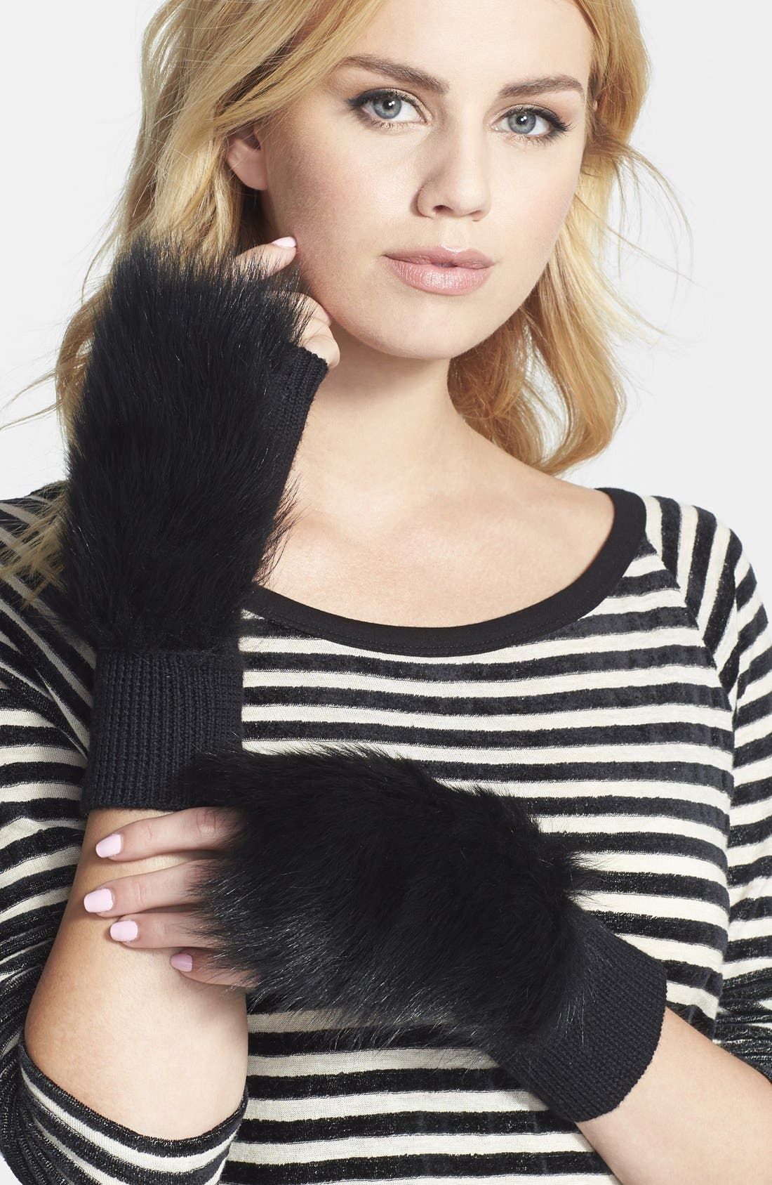 'Mindy' Merino Wool & Genuine Shearling Fingerless Mittens,                             Main thumbnail 1, color,                             001