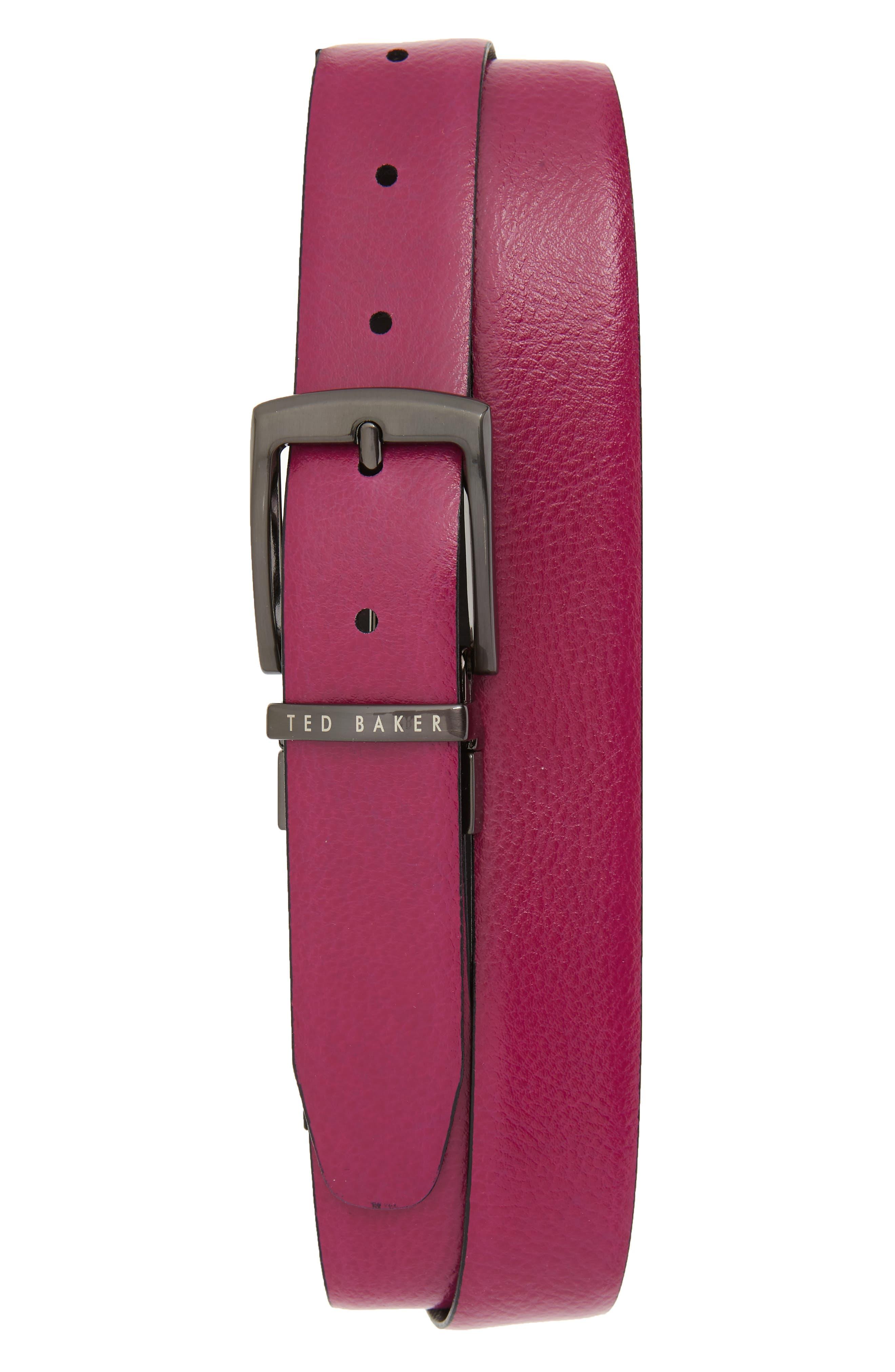 TED BAKER LONDON,                             Reversible Leather Belt,                             Alternate thumbnail 2, color,                             BLACK