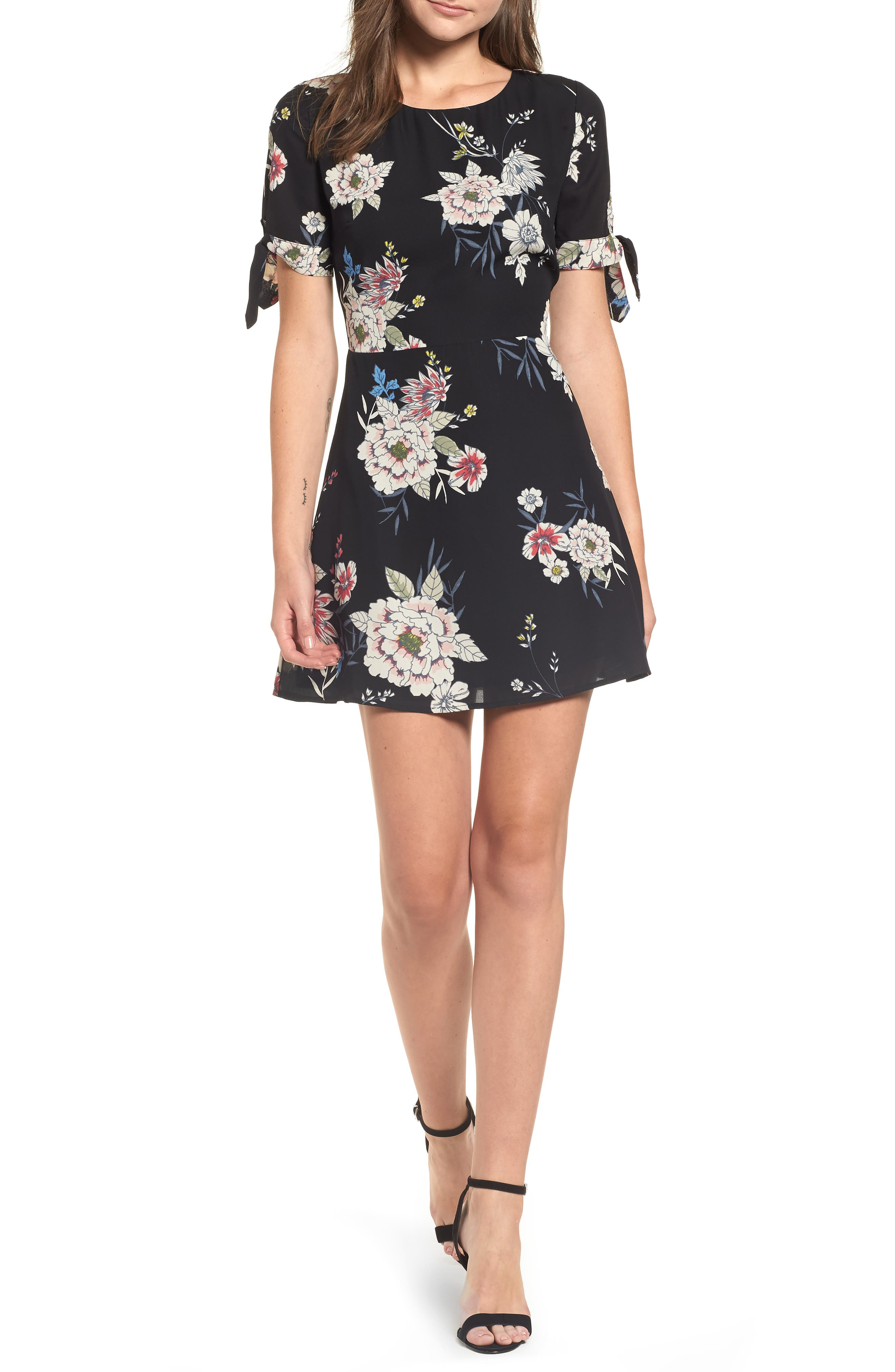 Leith Tie Sleeve Fit & Flare Dress, Black