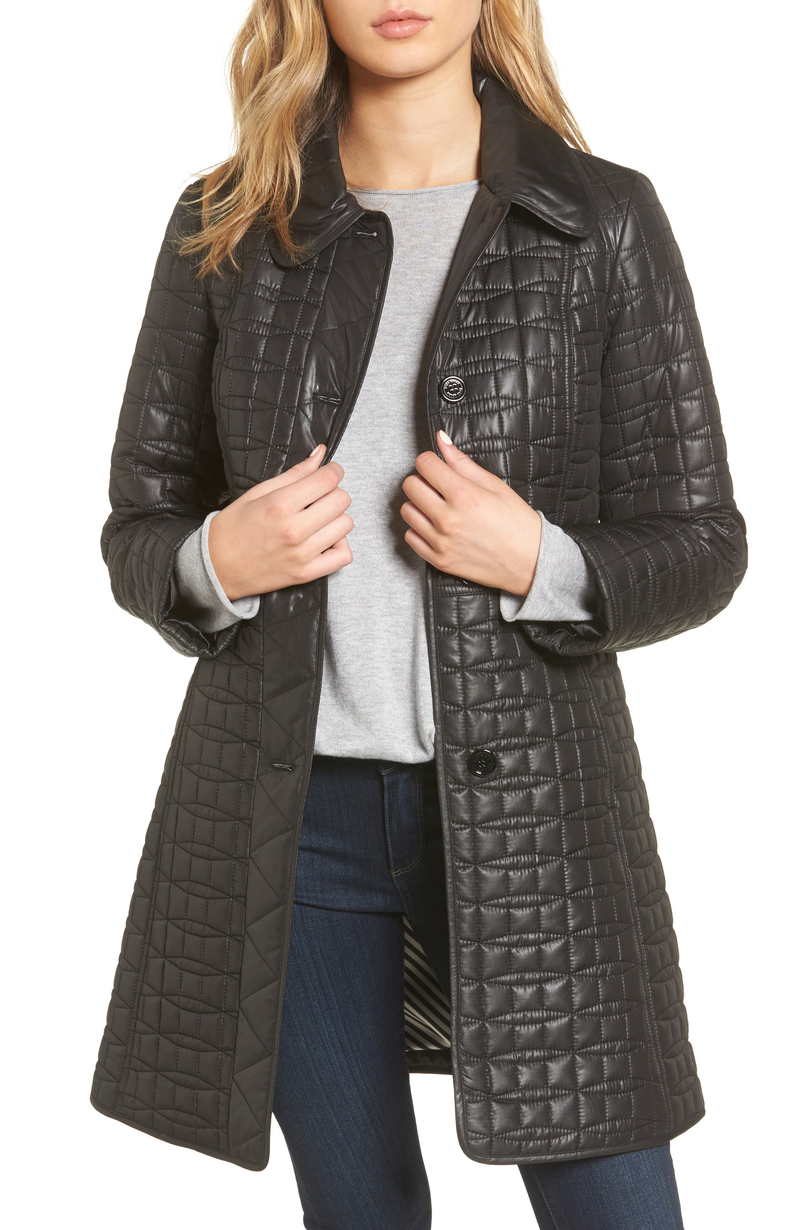 water resistant quilted coat,                             Main thumbnail 1, color,                             001