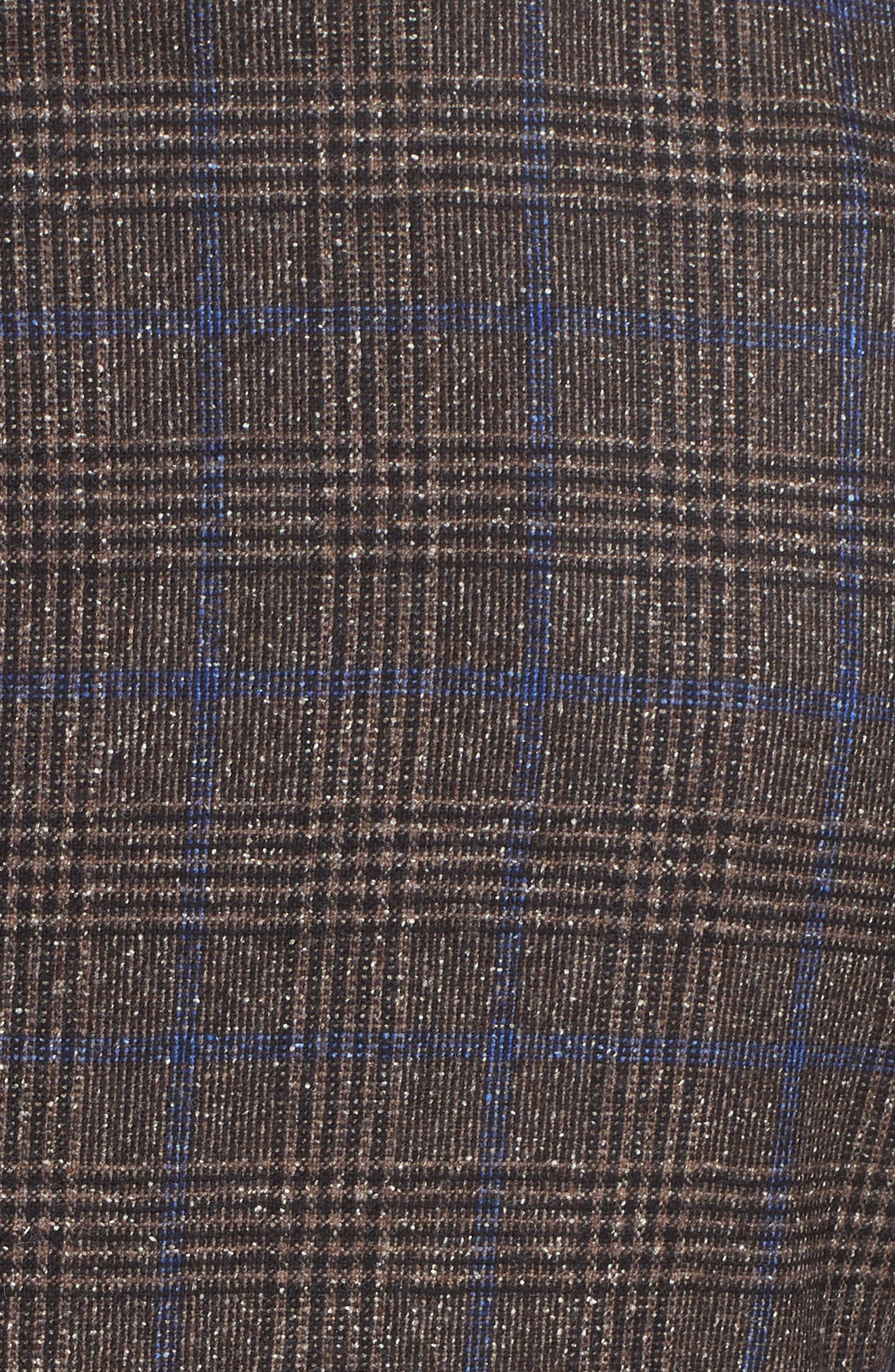 Trim Fit Stretch Plaid Wool Blend Sport Coat,                             Alternate thumbnail 6, color,                             BROWN