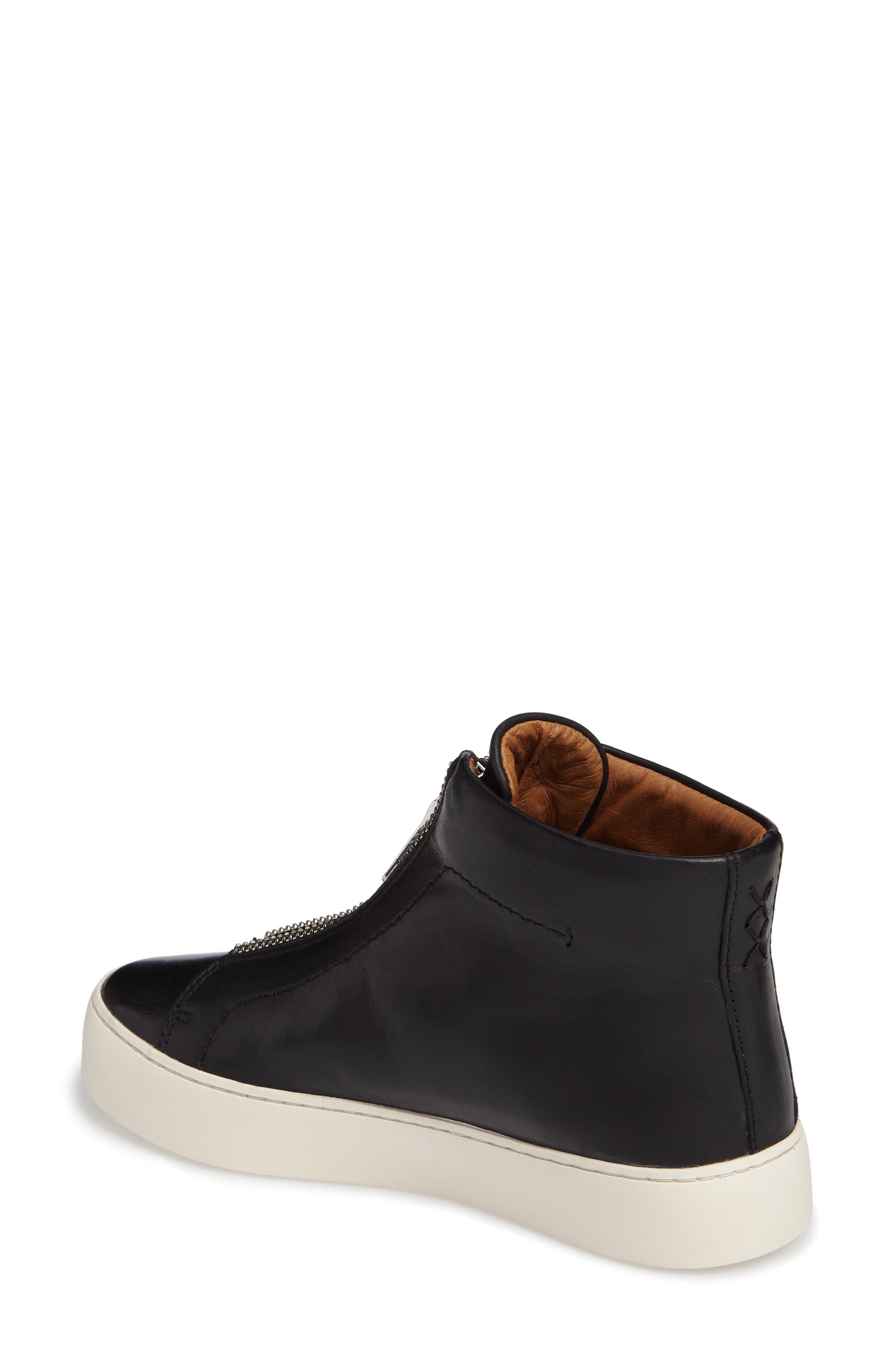 Lena Zip High Top Sneaker,                             Alternate thumbnail 2, color,                             BLACK LEATHER