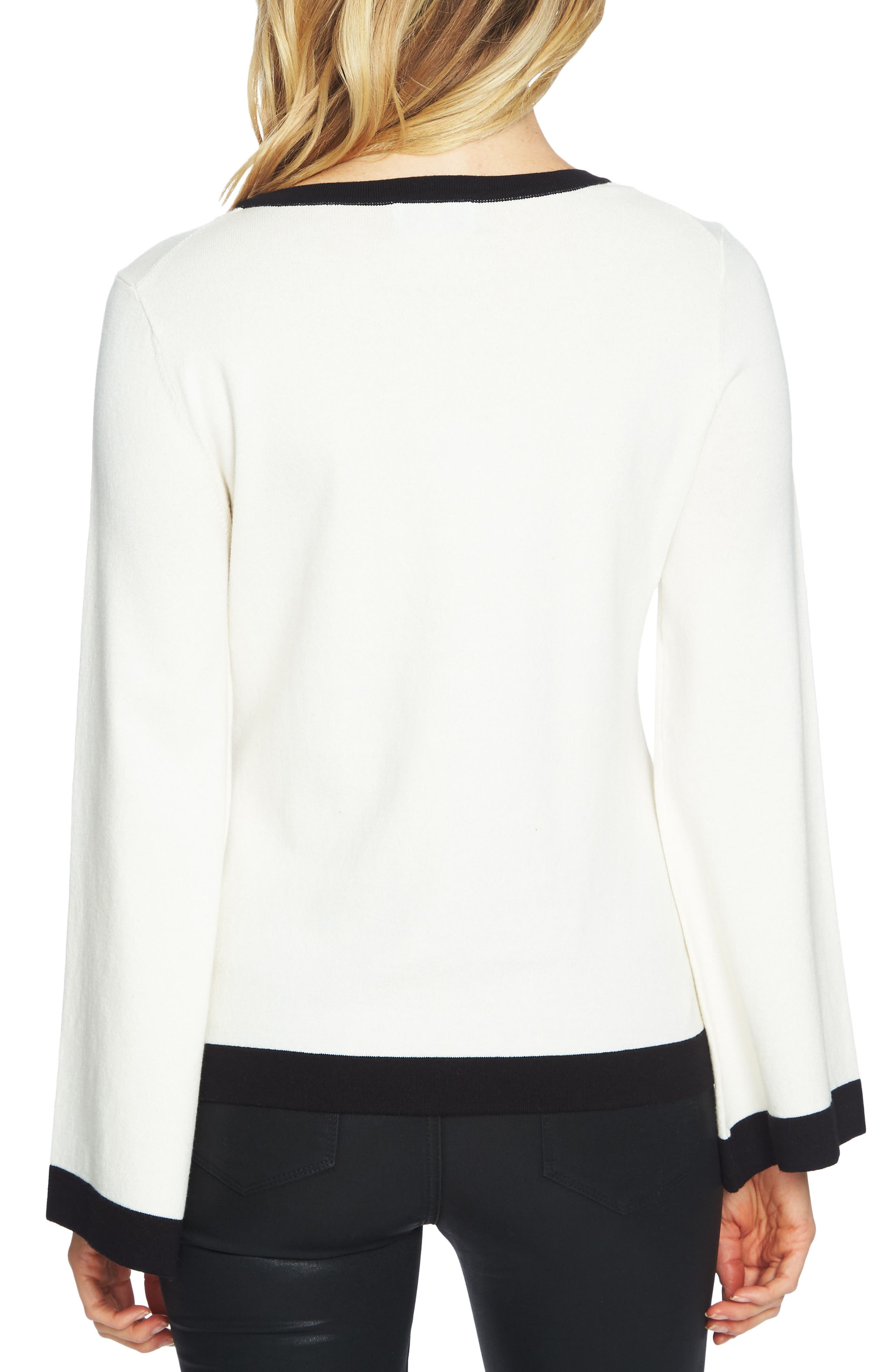 Contrast Tipped Bell Sleeve Sweater,                             Alternate thumbnail 4, color,