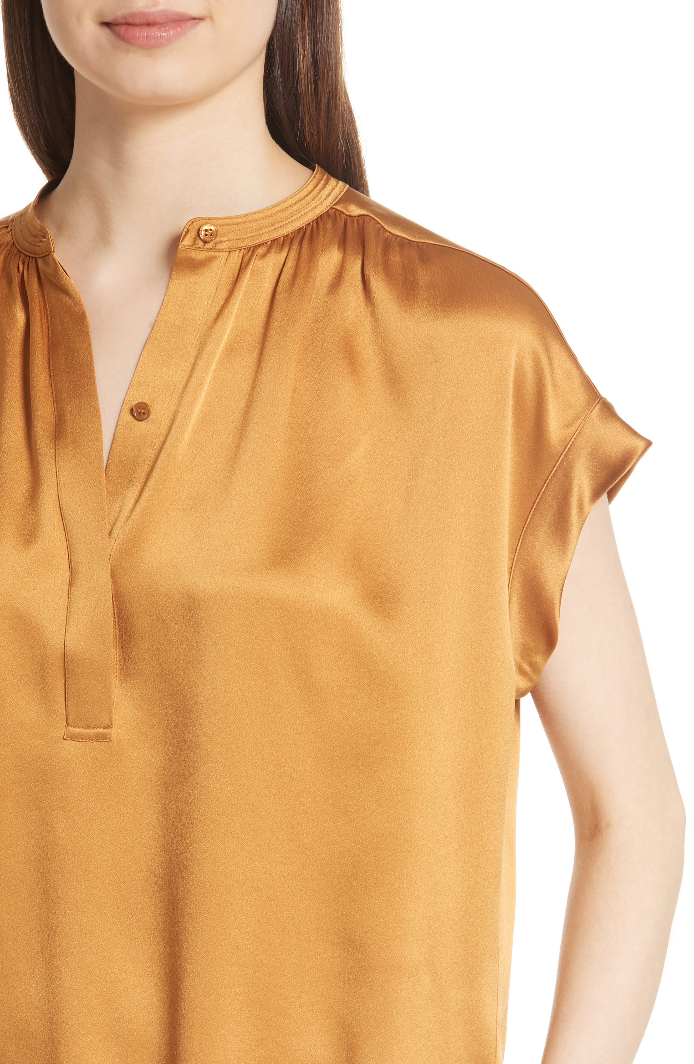 Shirred Neck Silk Top,                             Alternate thumbnail 15, color,
