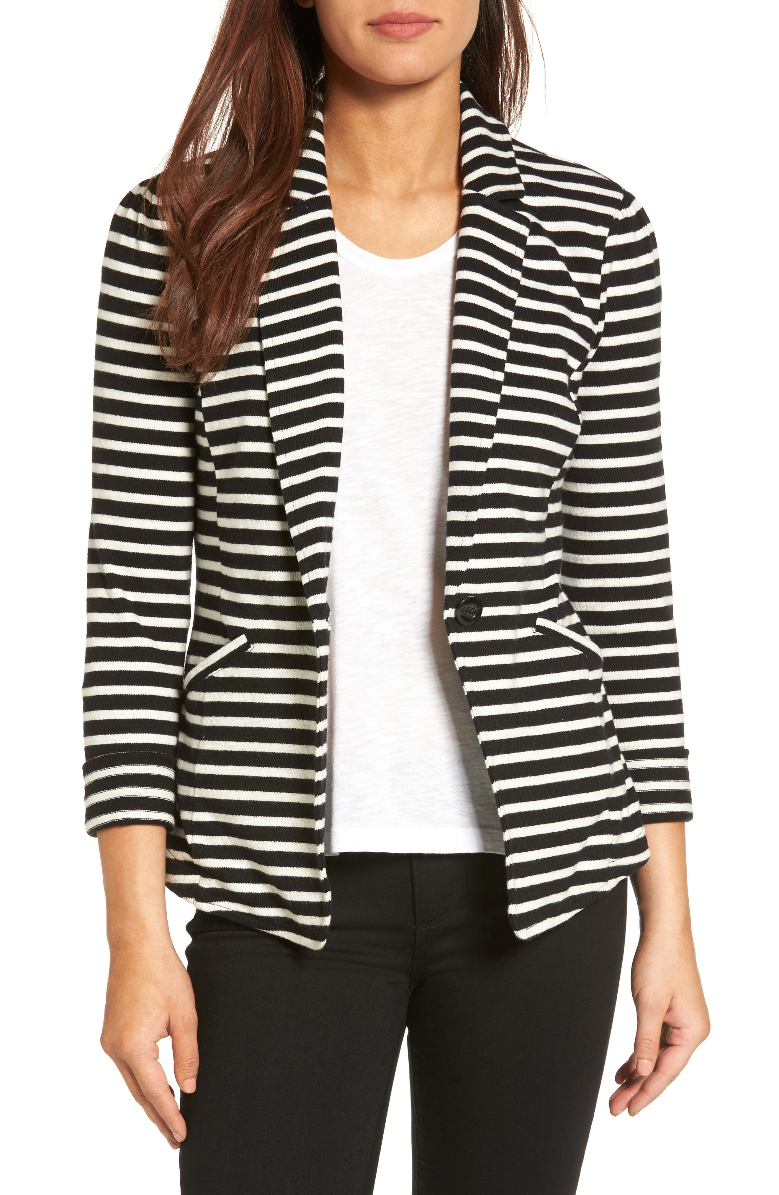 CASLON<SUP>®</SUP>,                             Knit One-Button Blazer,                             Main thumbnail 1, color,                             BLACK- IVORY STRIPE