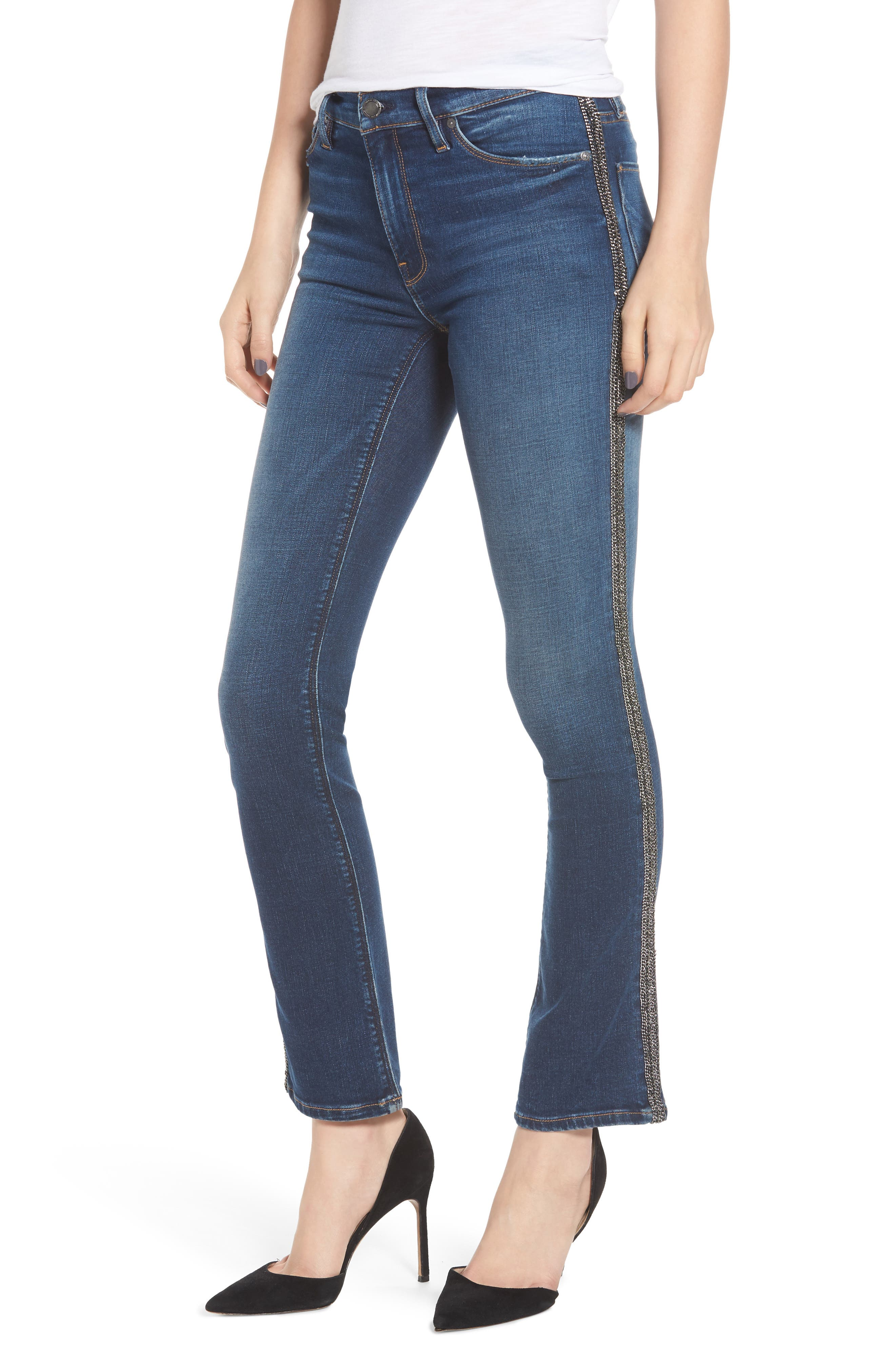 HUDSON Nico Mid-Rise Cigarette Jeans With Metallic Stripes in Utopia