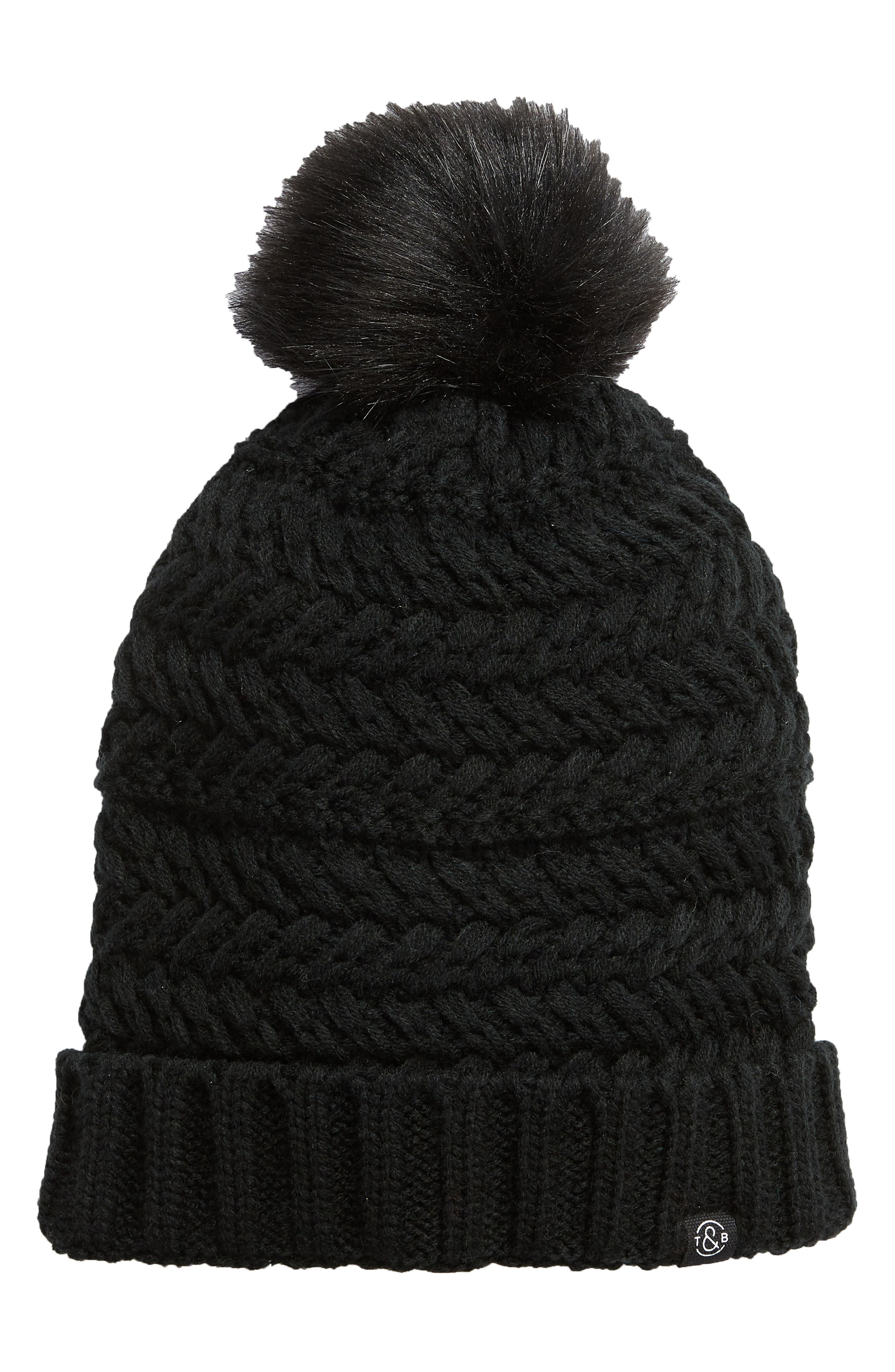 Cable Knit Beanie with Faux Fur Pom,                             Main thumbnail 1, color,                             BLACK