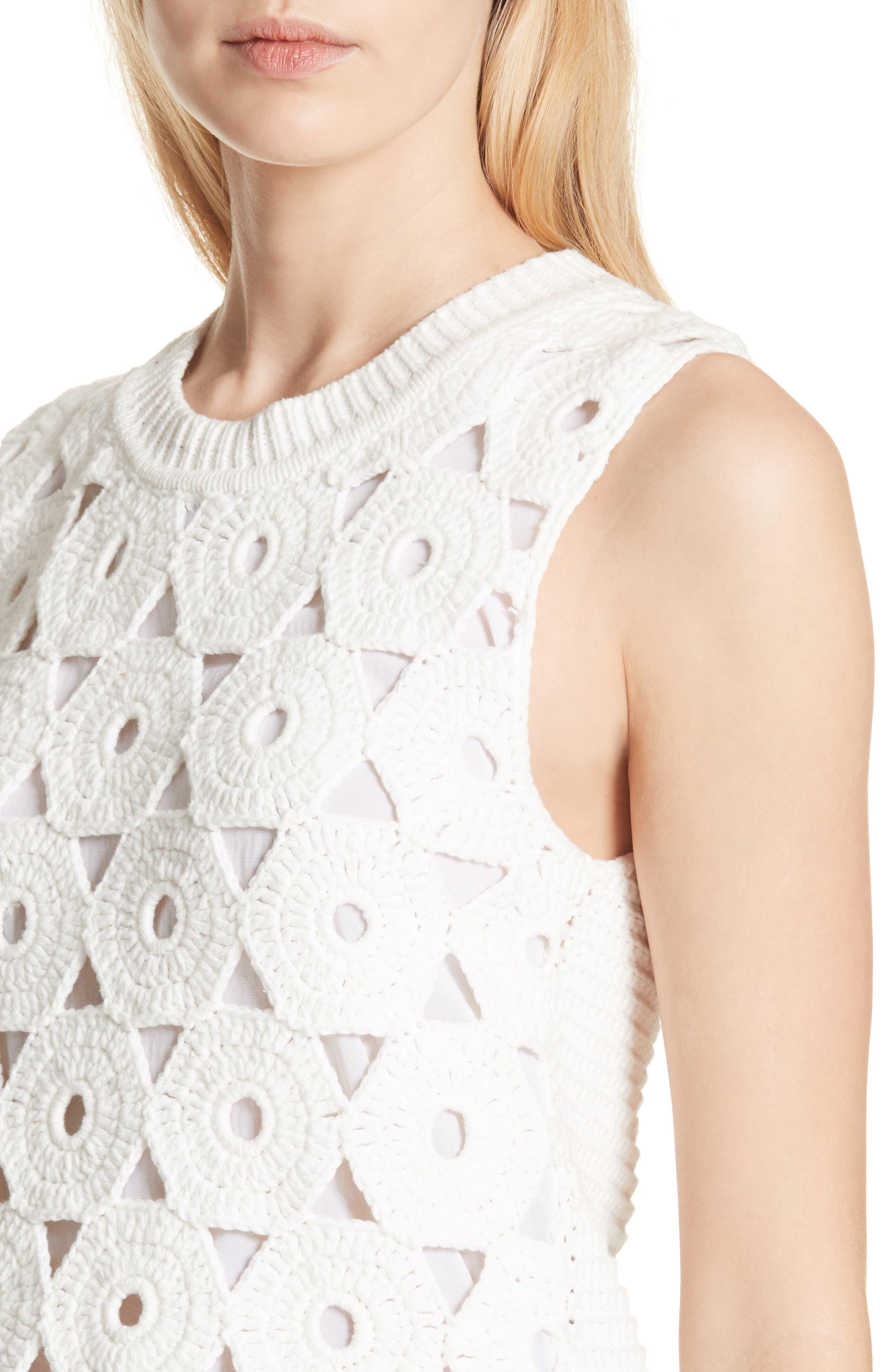 Reva Medallion Crochet Sweater,                             Alternate thumbnail 4, color,                             OPTIC WHITE