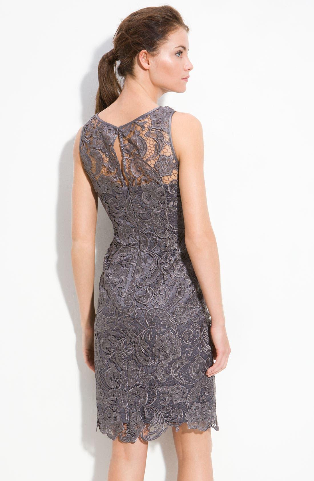 Illusion Bodice Lace Sheath Dress,                             Alternate thumbnail 33, color,