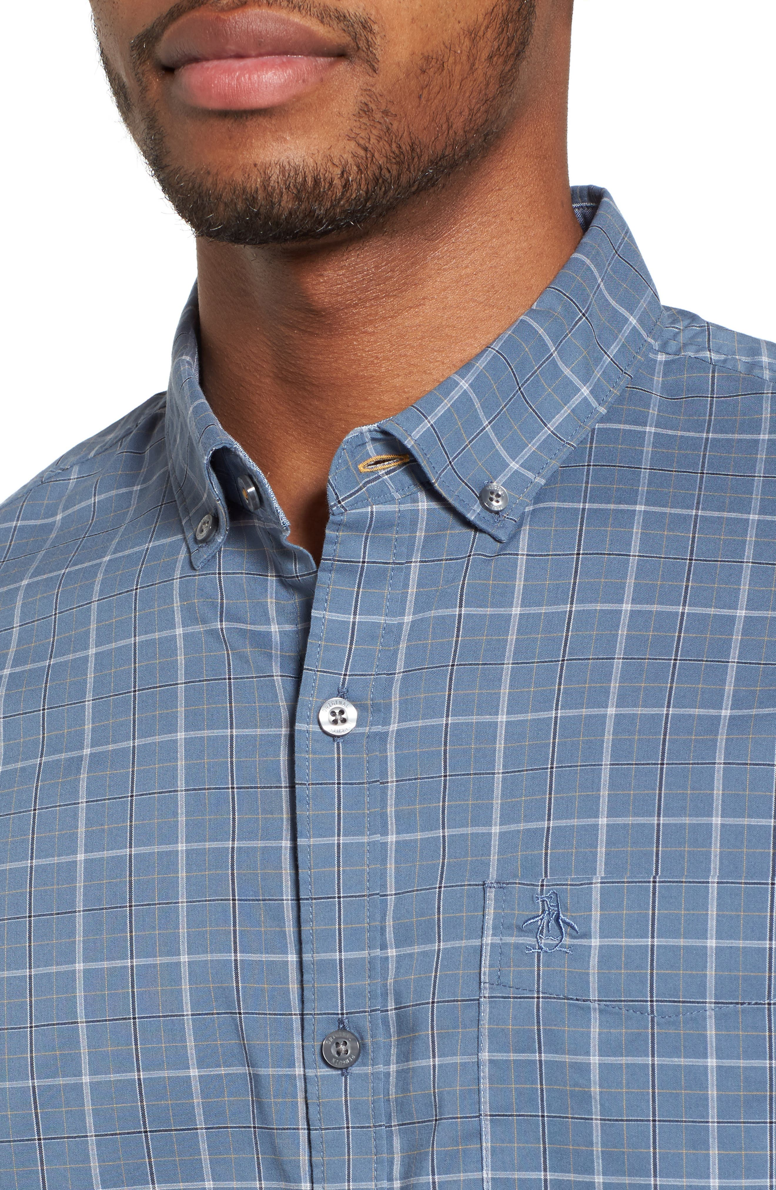 Slim Fit Plaid Woven Shirt,                             Alternate thumbnail 4, color,