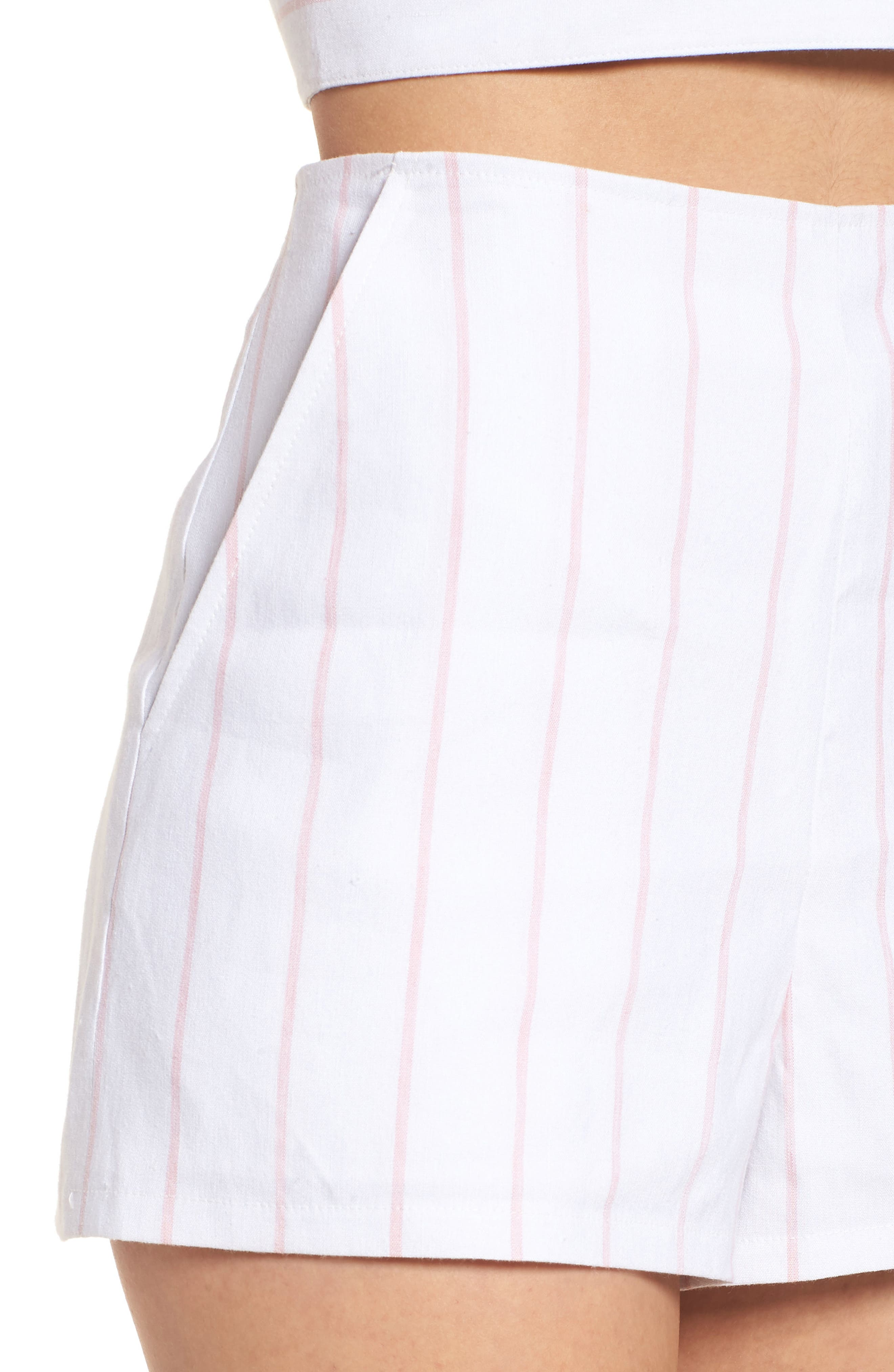 High Waist Linen Blend Shorts,                             Alternate thumbnail 17, color,