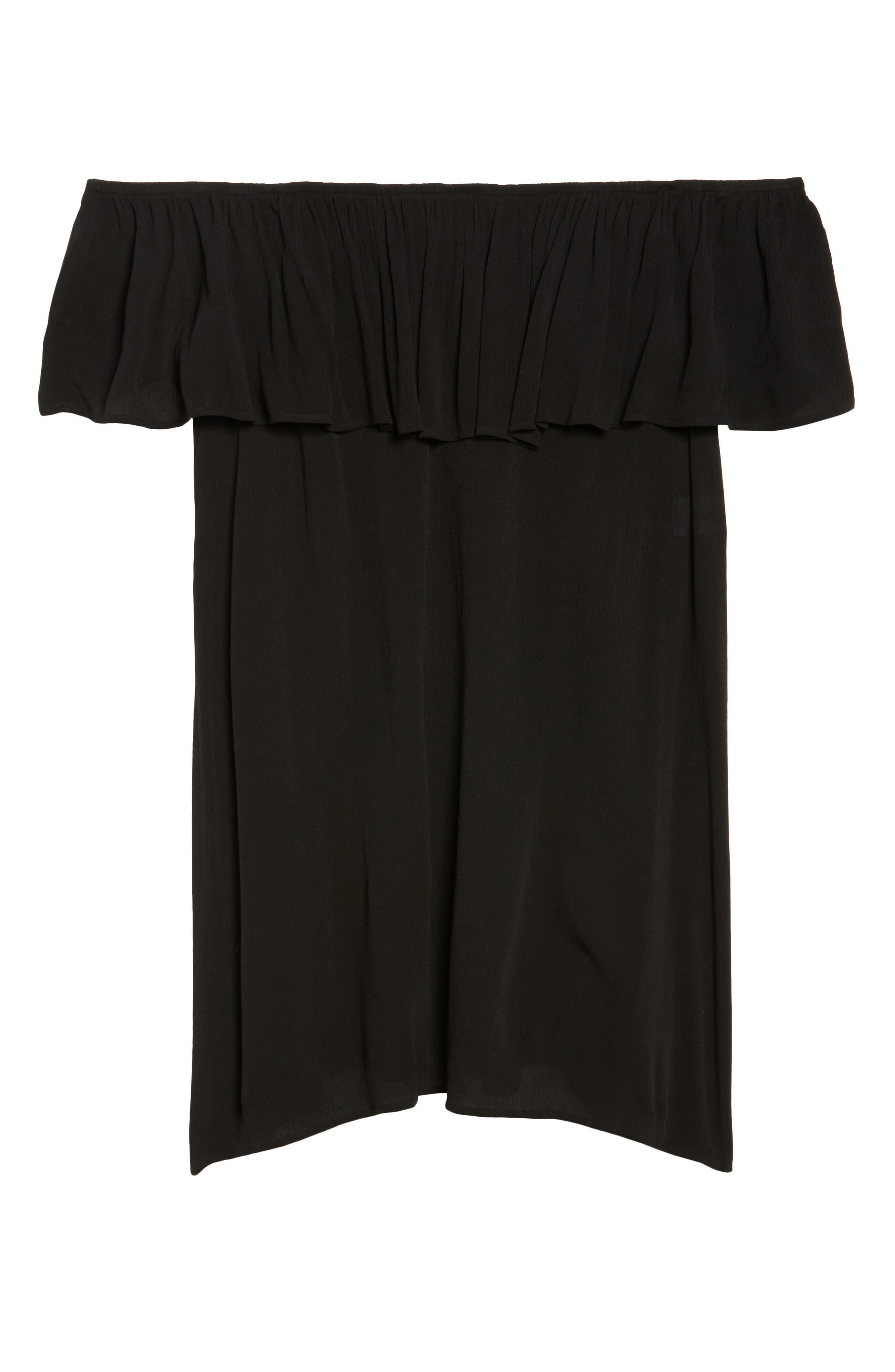 Southern Belle Off the Shoulder Cover-Up Dress,                             Alternate thumbnail 6, color,                             001