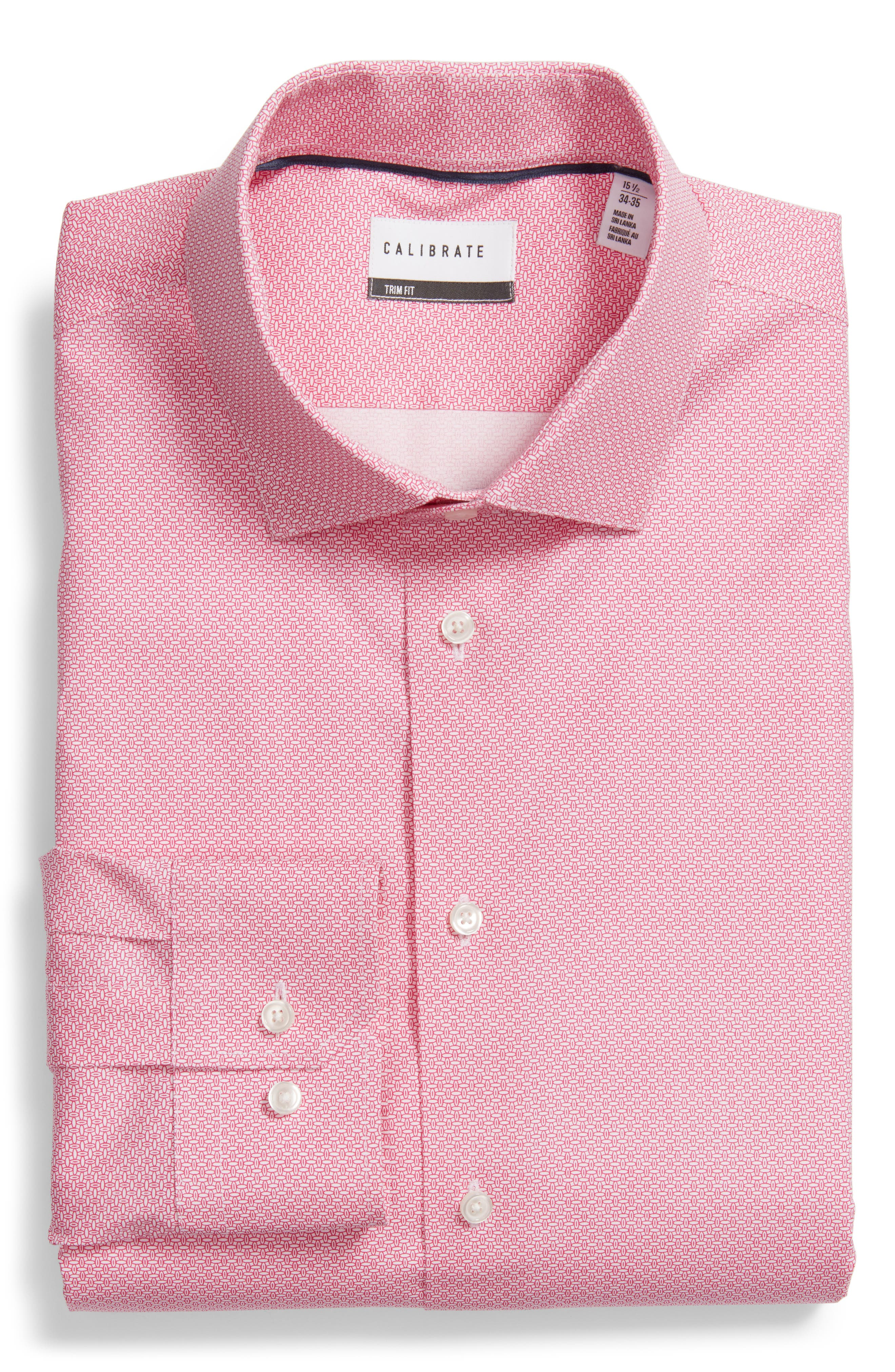 Trim Fit Stretch Geometric Dress Shirt,                             Main thumbnail 1, color,