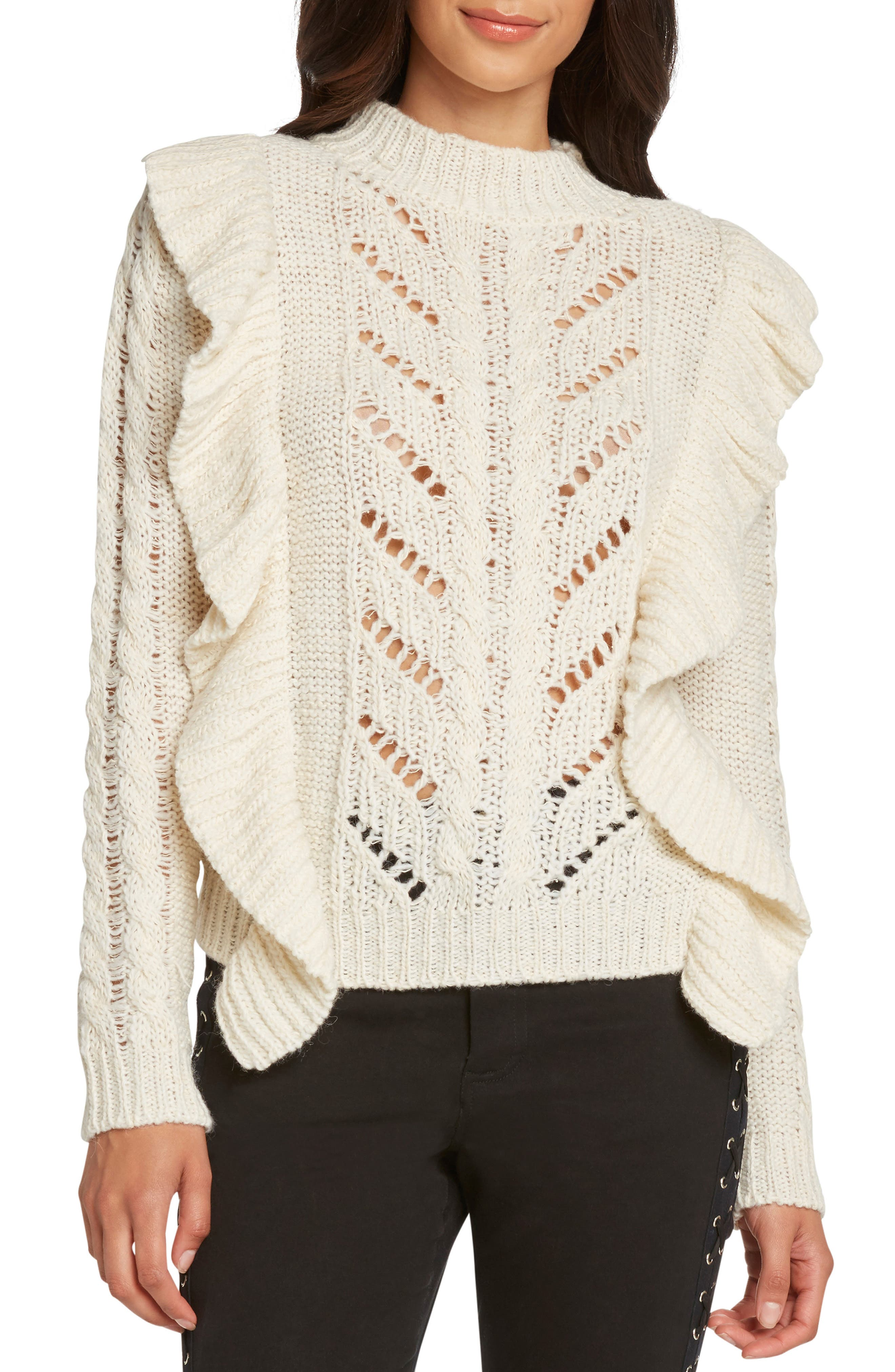 Ruffle Detail Sweater,                         Main,                         color, IVORY