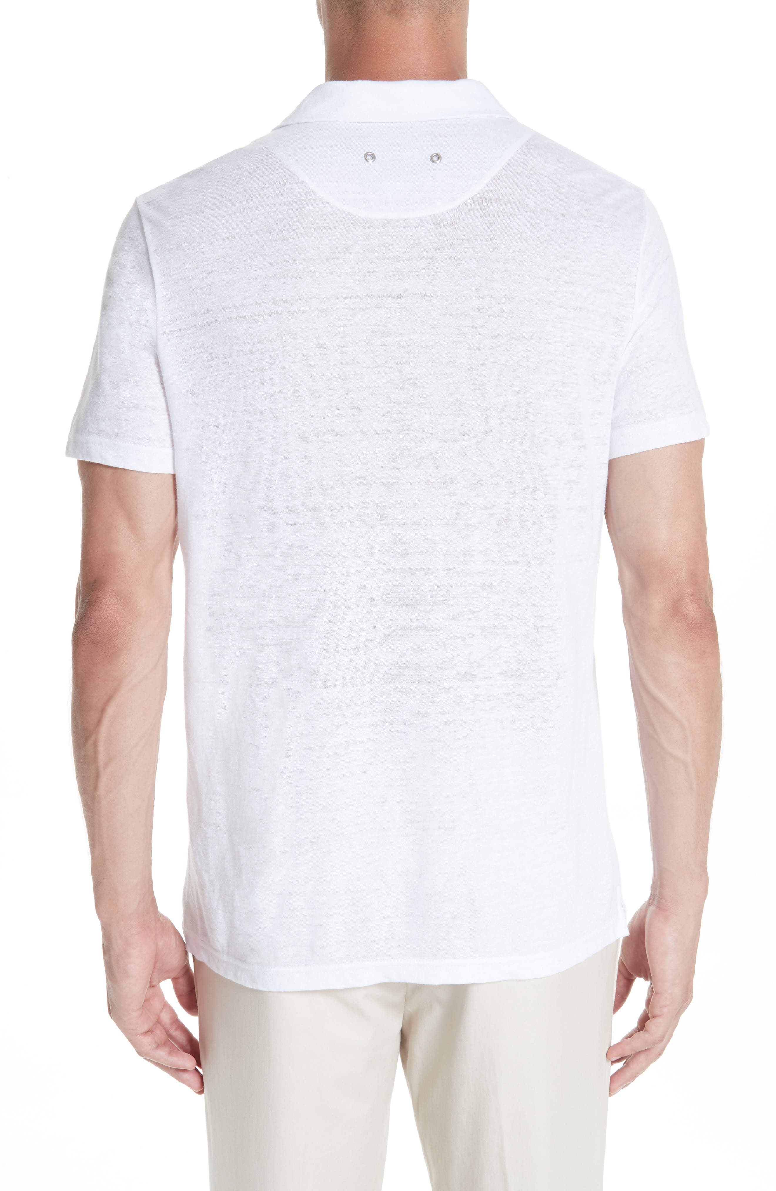 Jersey Linen Johnny Collar Polo,                             Alternate thumbnail 2, color,                             WHITE