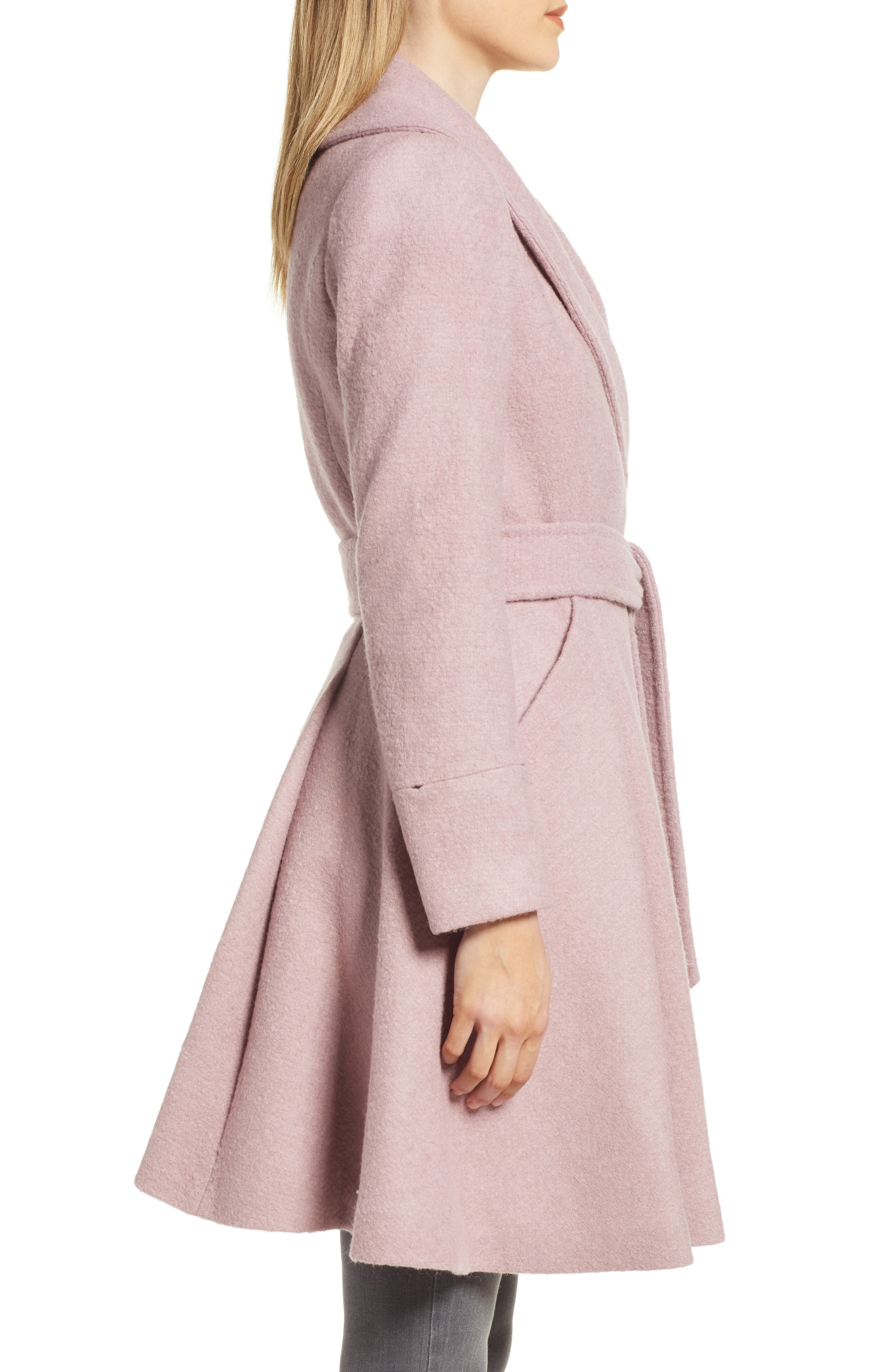 Faux Fur Cuff Skirted Coat,                             Alternate thumbnail 3, color,                             MID PINK