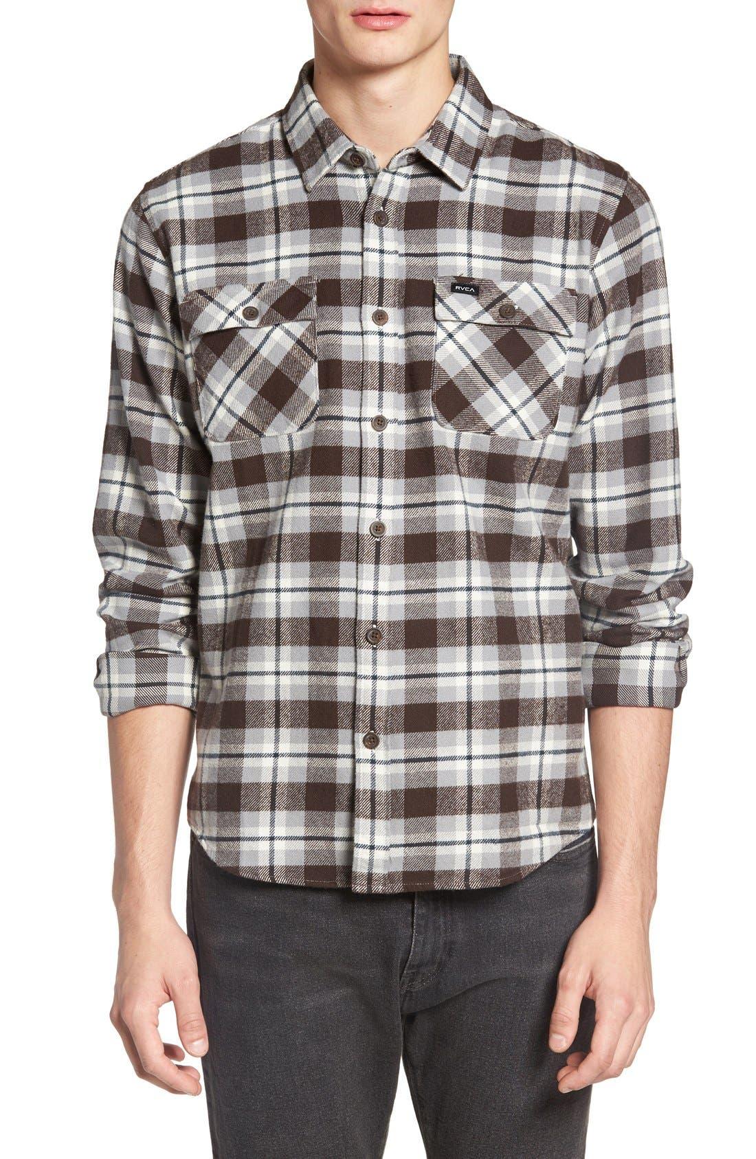 'That'll Work' Trim Fit Plaid Flannel Shirt,                             Main thumbnail 4, color,