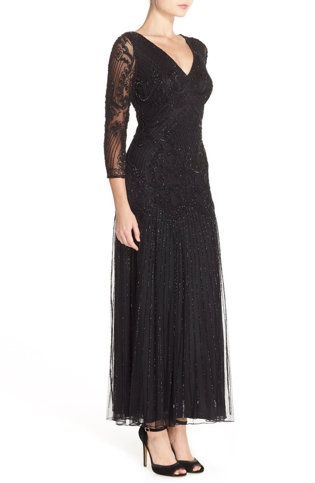 Embellished Mesh Gown,                             Alternate thumbnail 2, color,                             001