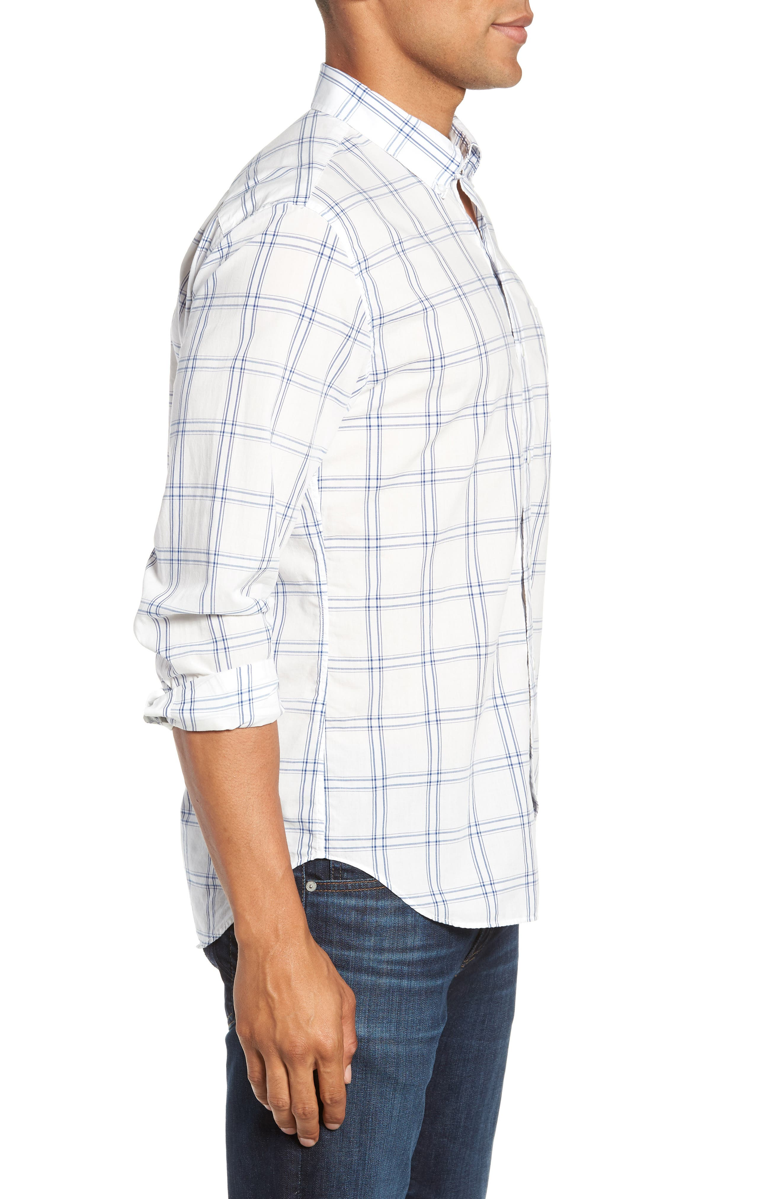 Summerweight Slim Fit Plaid Sport Shirt,                             Alternate thumbnail 4, color,                             100