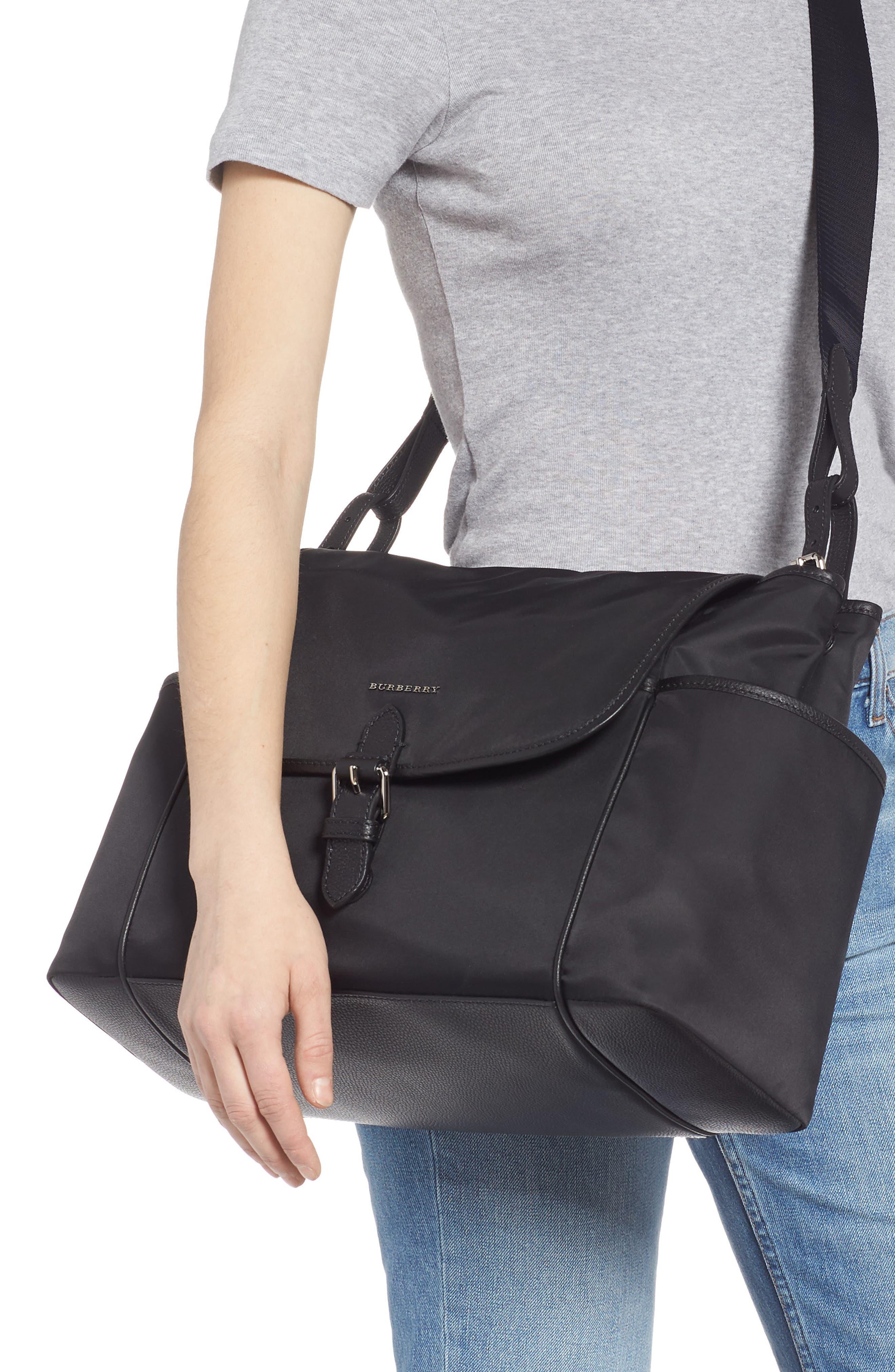 Flap Nylon Diaper Bag,                             Alternate thumbnail 2, color,                             BLACK