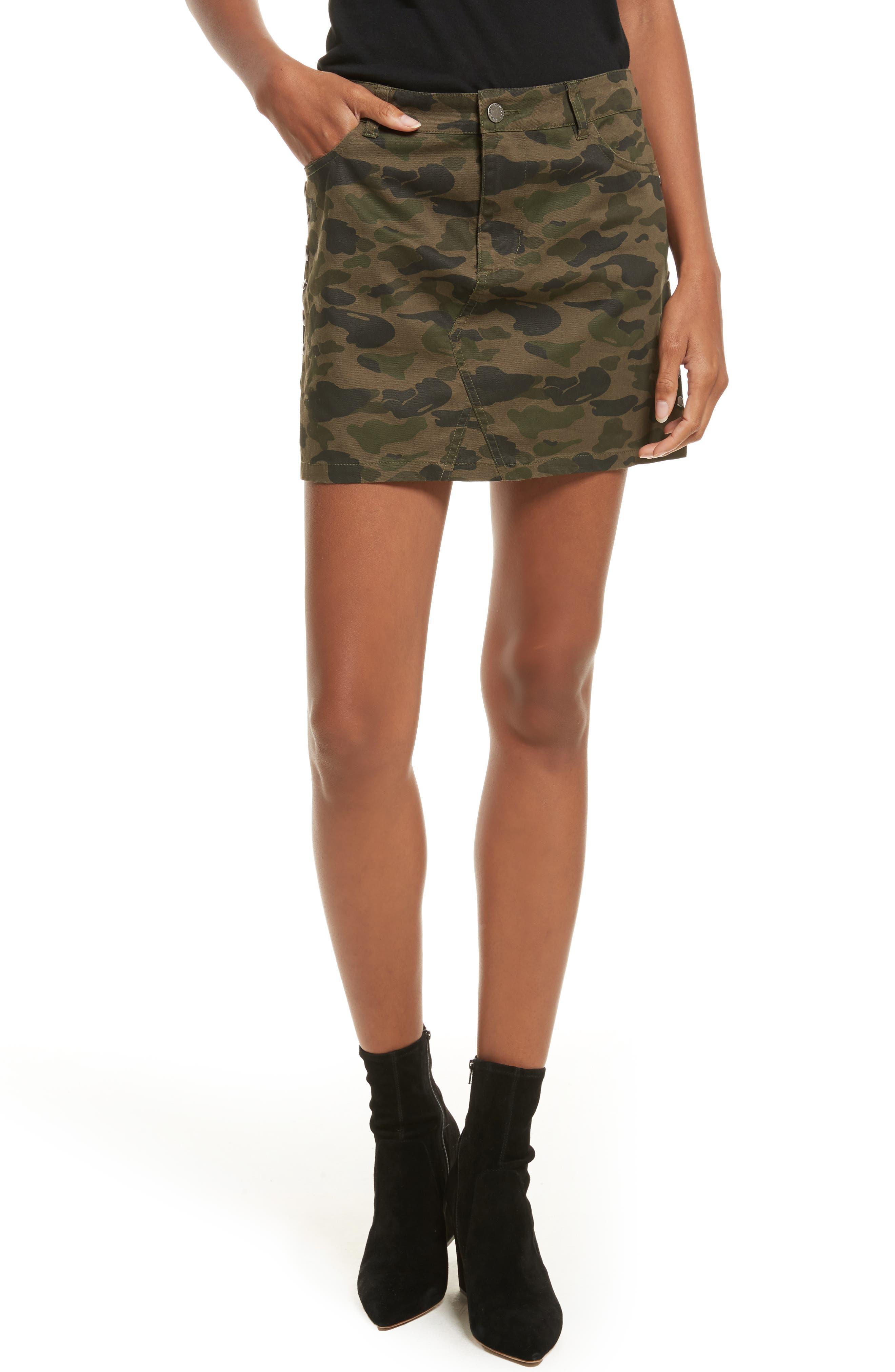 Dove Camo Miniskirt,                         Main,                         color, 303