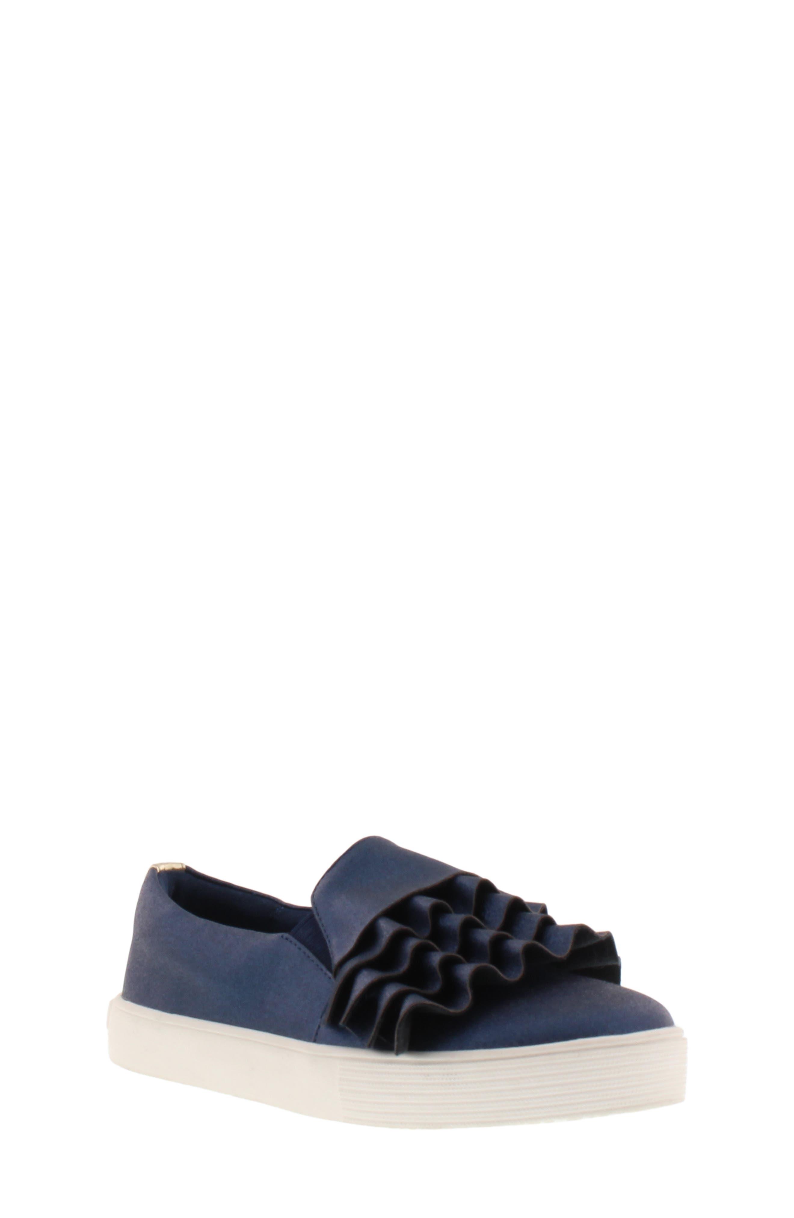 Shimmery Kam Ruffle Slip-On Sneaker,                             Main thumbnail 1, color,                             NAVY