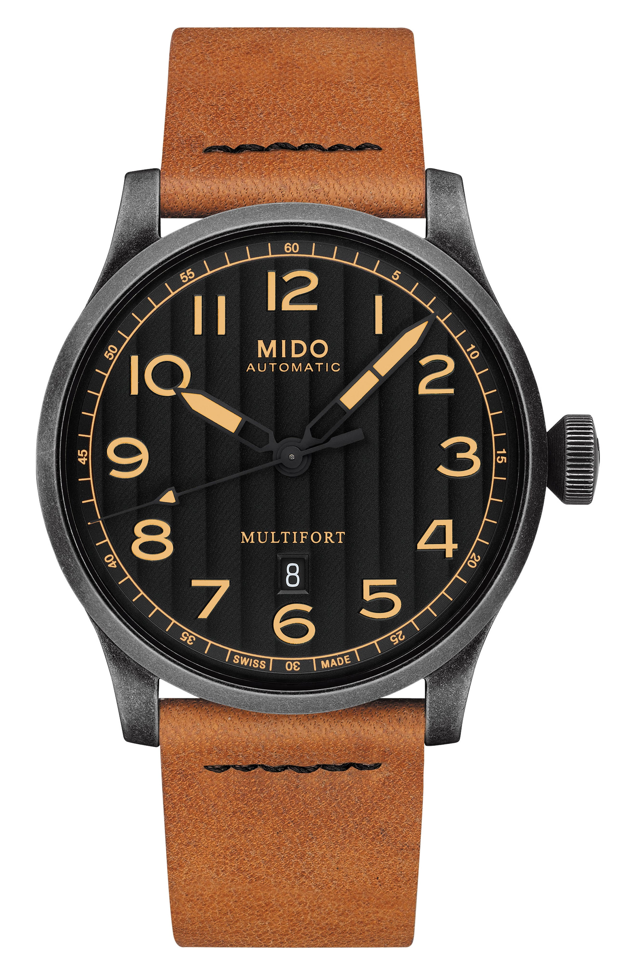 Multifort Escape Leather Strap Watch, 44mm,                         Main,                         color, BROWN/ BLACK/ SILVER