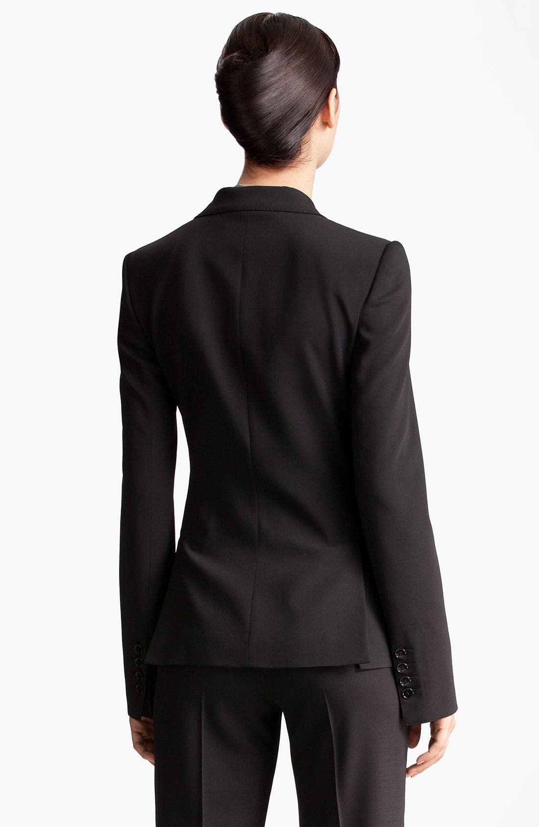 Two Button Stretch Wool Jacket,                             Alternate thumbnail 10, color,                             BLACK