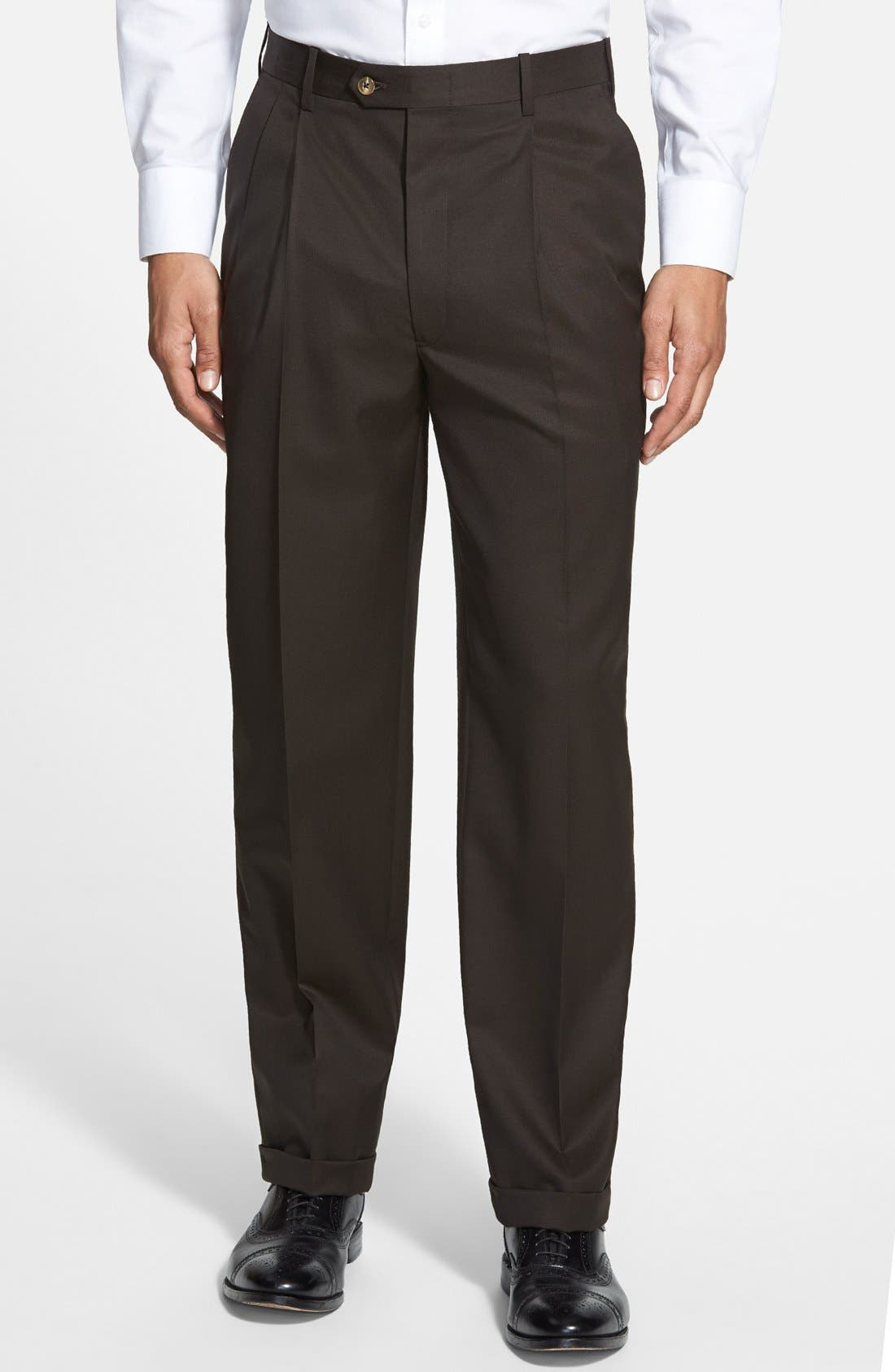 Pleated Super 100s Worsted Wool Trousers,                             Main thumbnail 3, color,