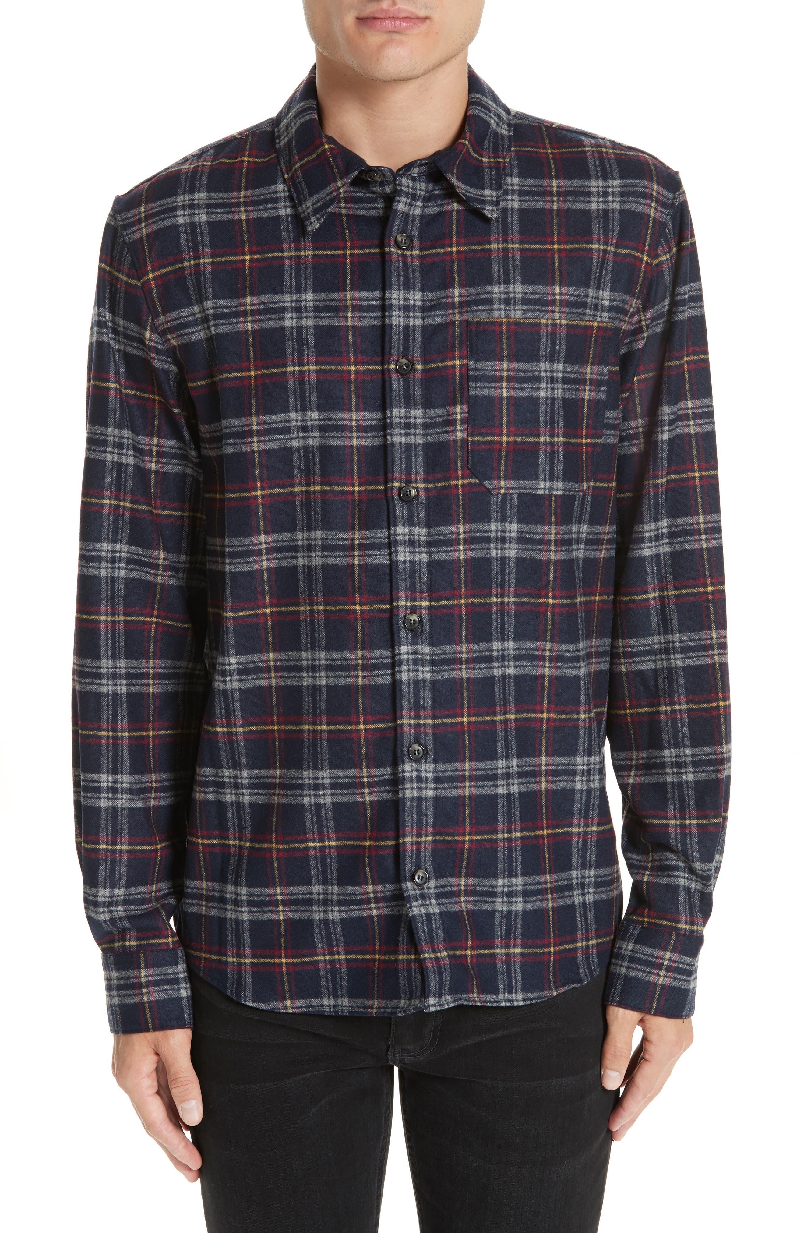 Check Flannel Shirt,                             Main thumbnail 1, color,                             IAK NAVY