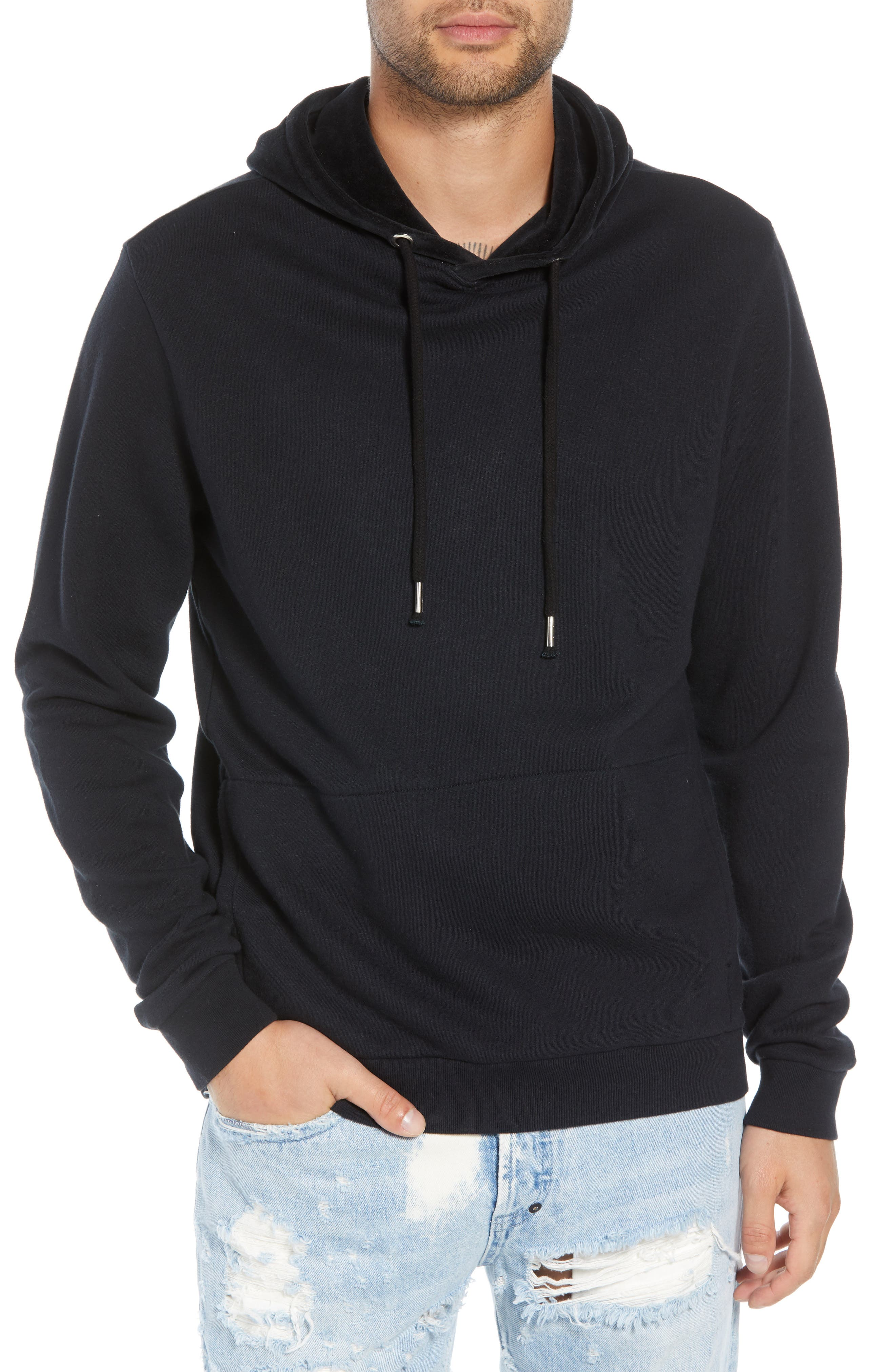 THE RAIL Velour Blocked Hoodie, Main, color, 001