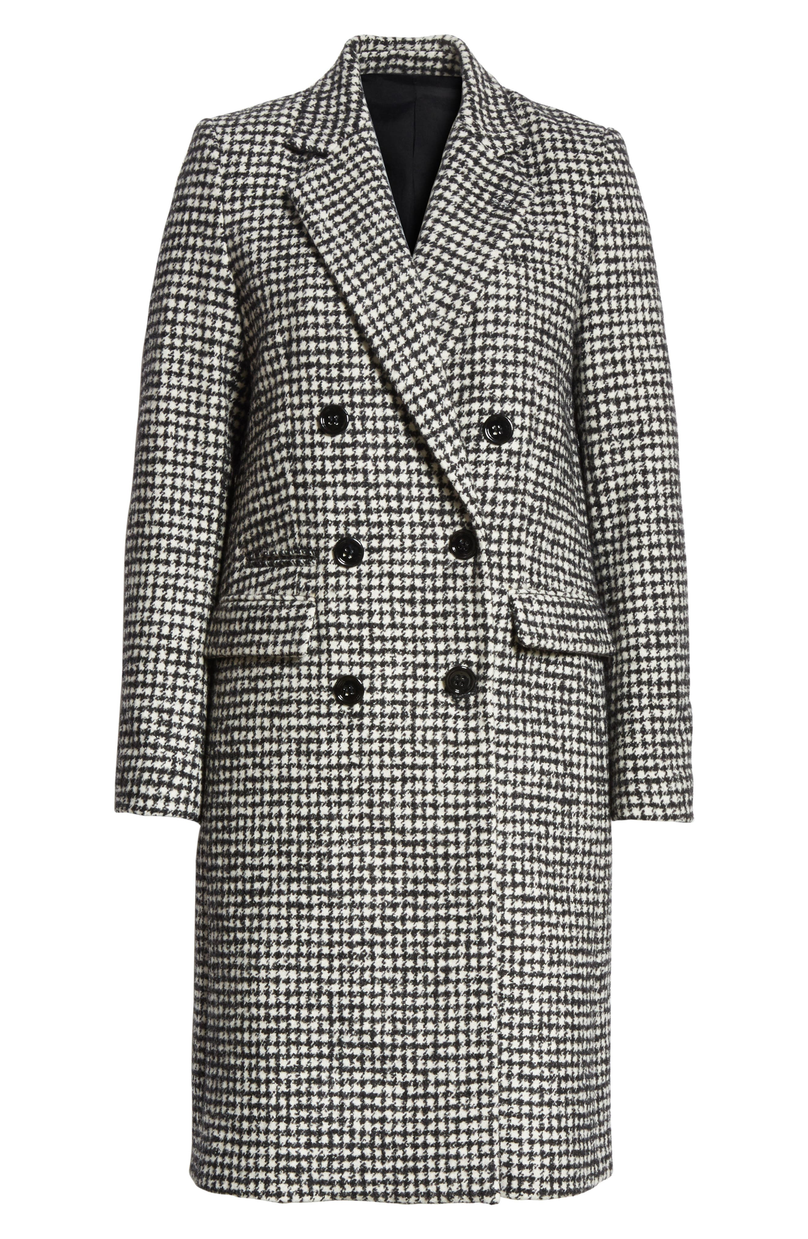 Double-Breasted Wool Blend Coat,                             Alternate thumbnail 5, color,                             001