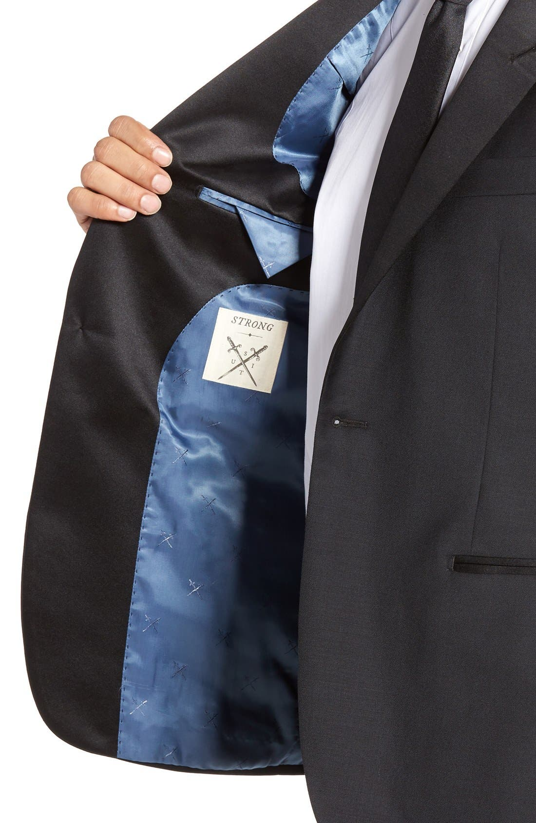 Aston Trim Fit Wool Dinner Jacket,                             Alternate thumbnail 4, color,                             001