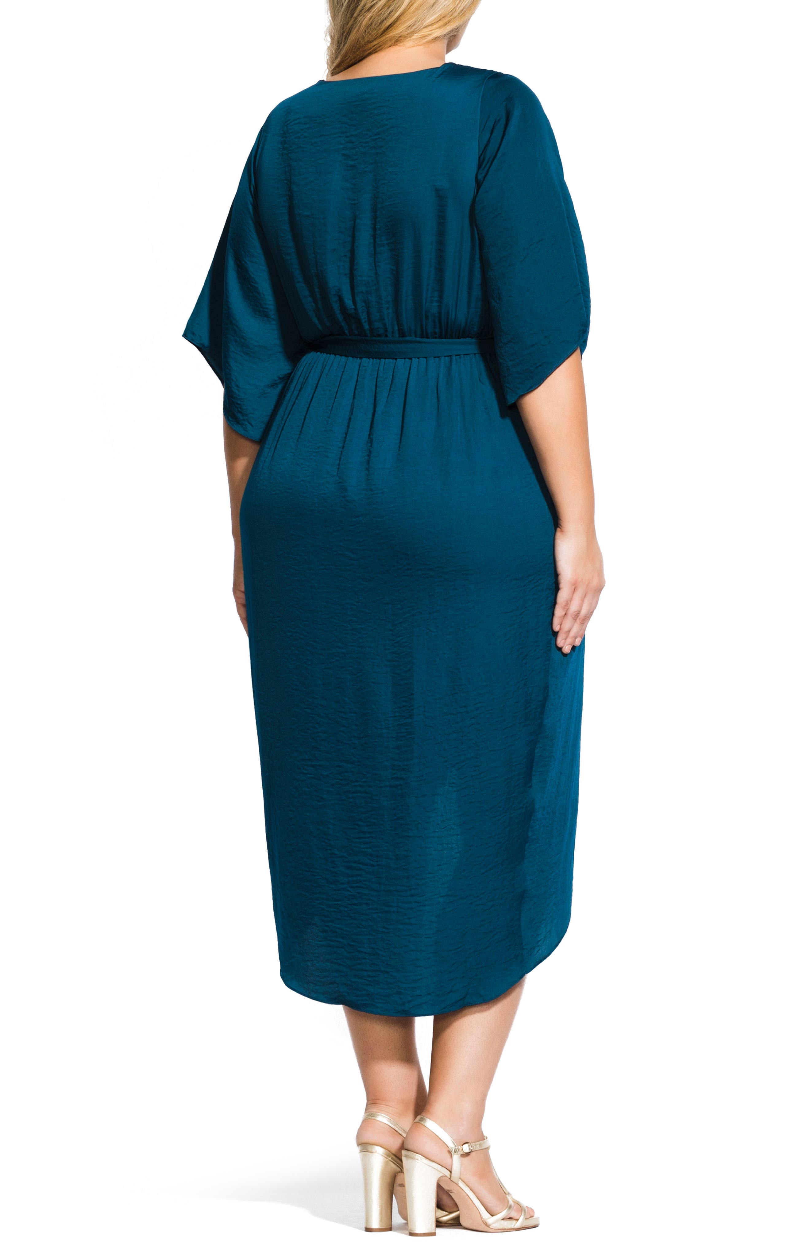 Opulent Hammered Satin Wrap Style Dress,                             Alternate thumbnail 2, color,                             TEAL