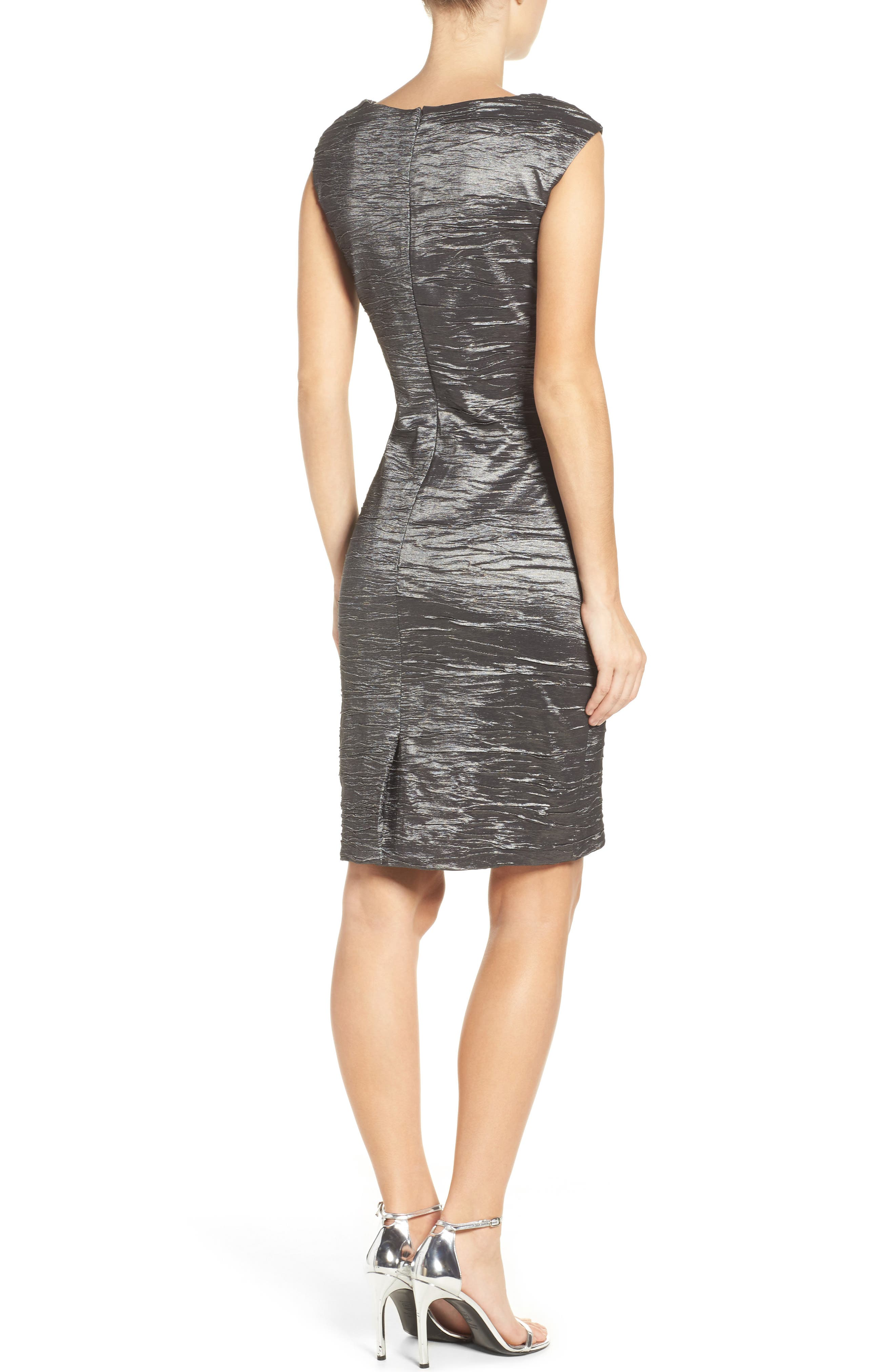 Embellished Taffeta Sheath Dress,                             Alternate thumbnail 7, color,