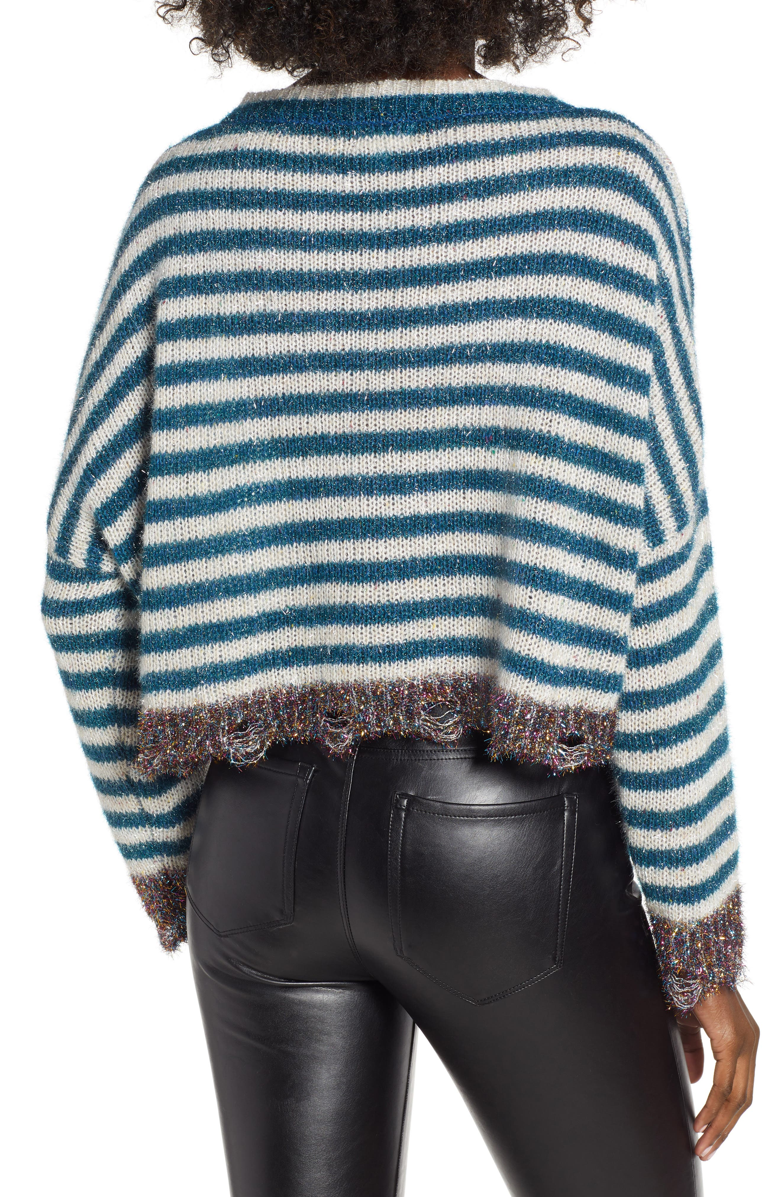 Tinsel Striped Sweater,                             Alternate thumbnail 2, color,                             400