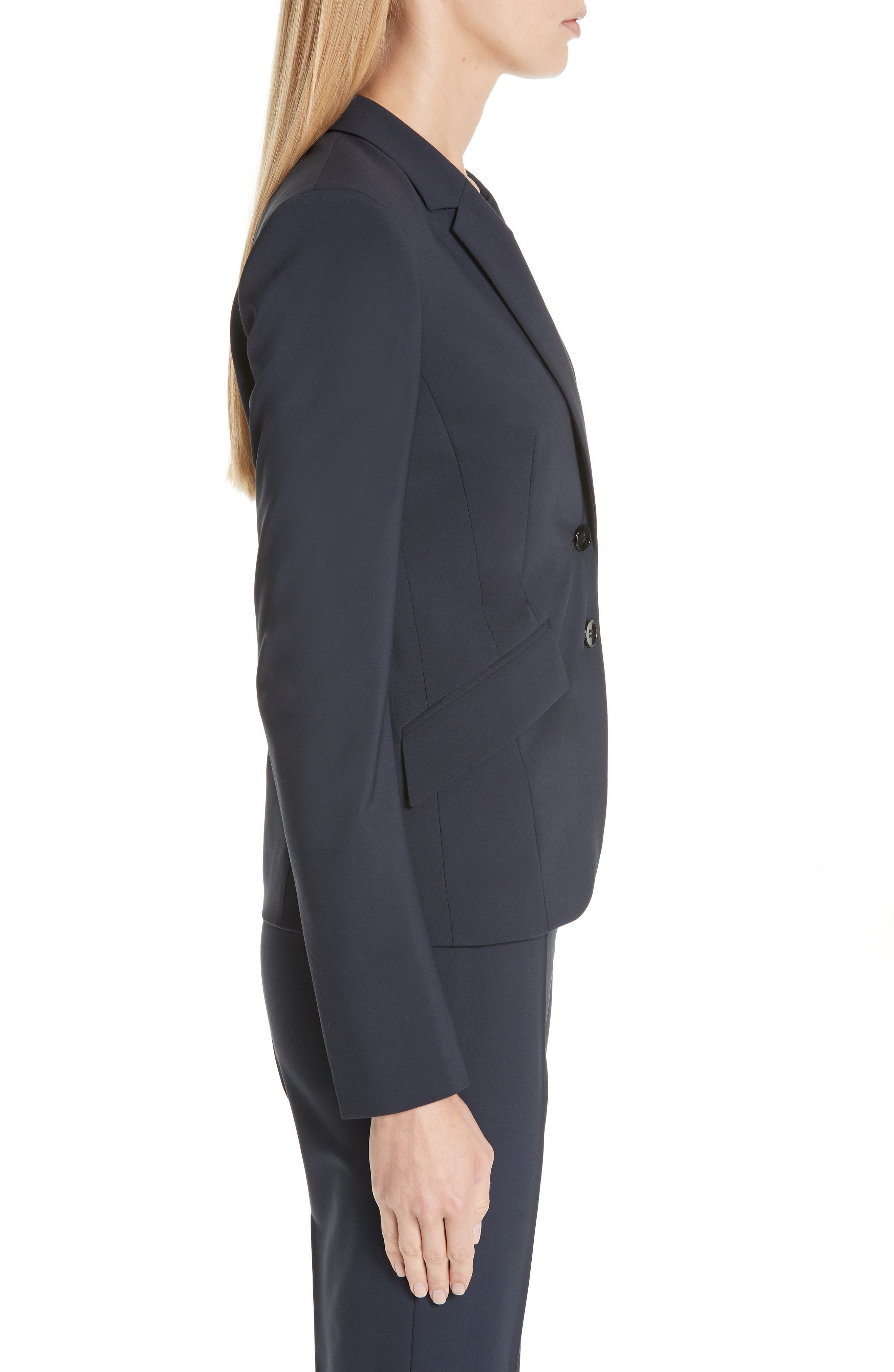 BOSS,                             Jiletara Stretch Wool Jacket,                             Alternate thumbnail 3, color,                             NAVY