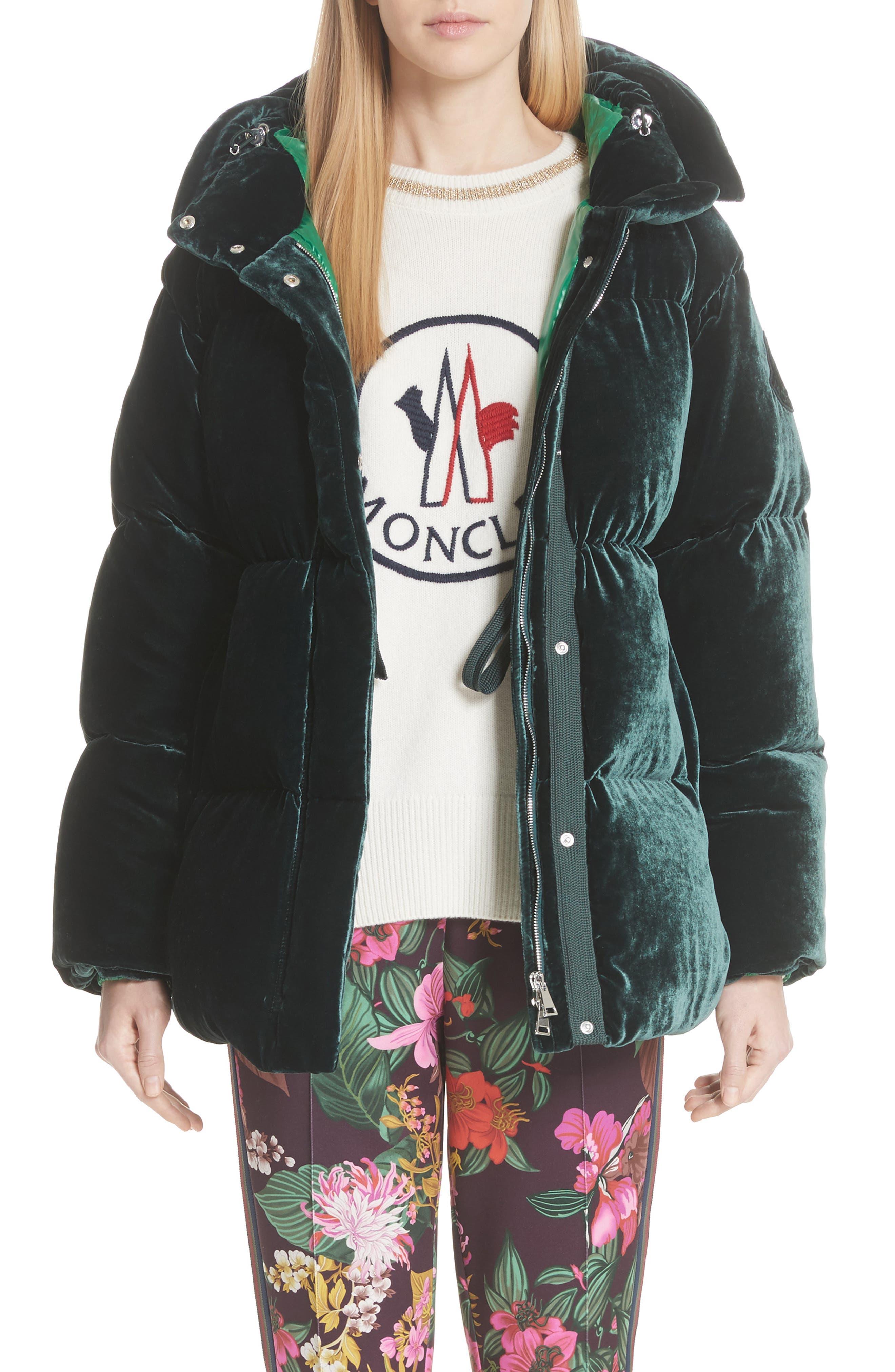 MONCLER,                             Butor Hooded Velvet Down Coat,                             Main thumbnail 1, color,                             FOREST GREEN