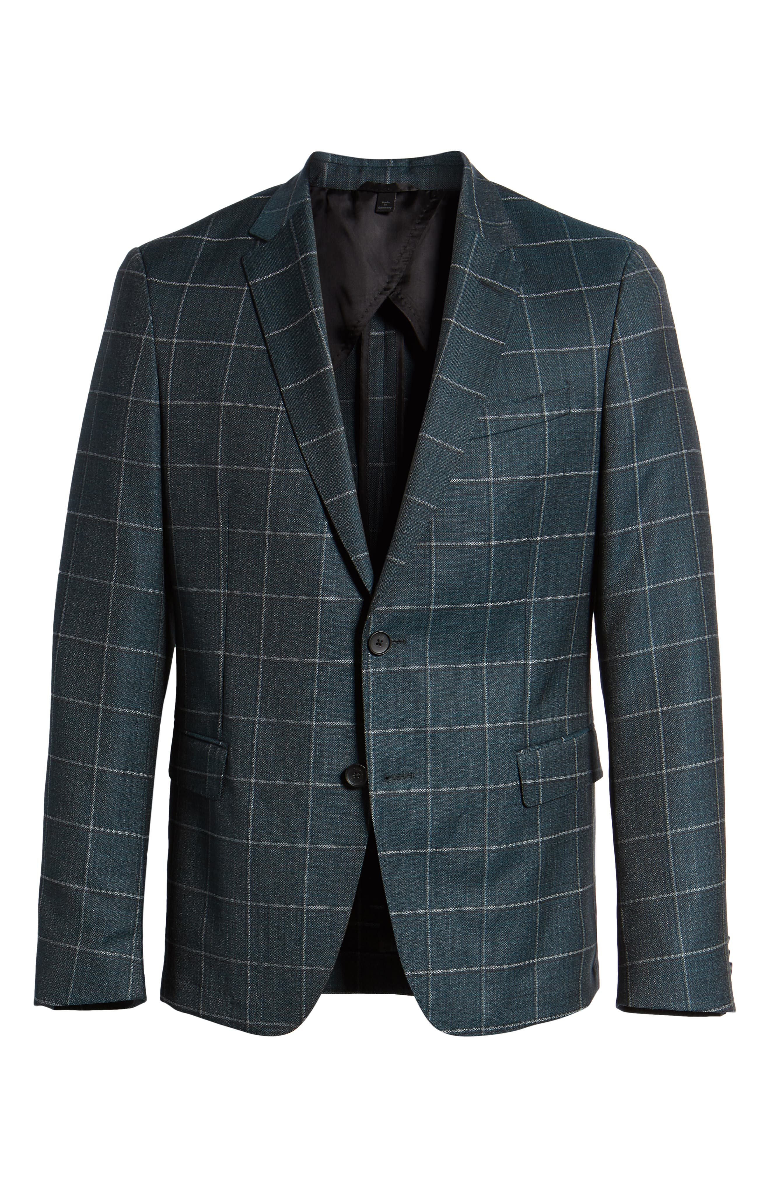 Nobis Trim Fit Windowpane Wool Sport Coat,                             Alternate thumbnail 5, color,                             MEDIUM GREEN