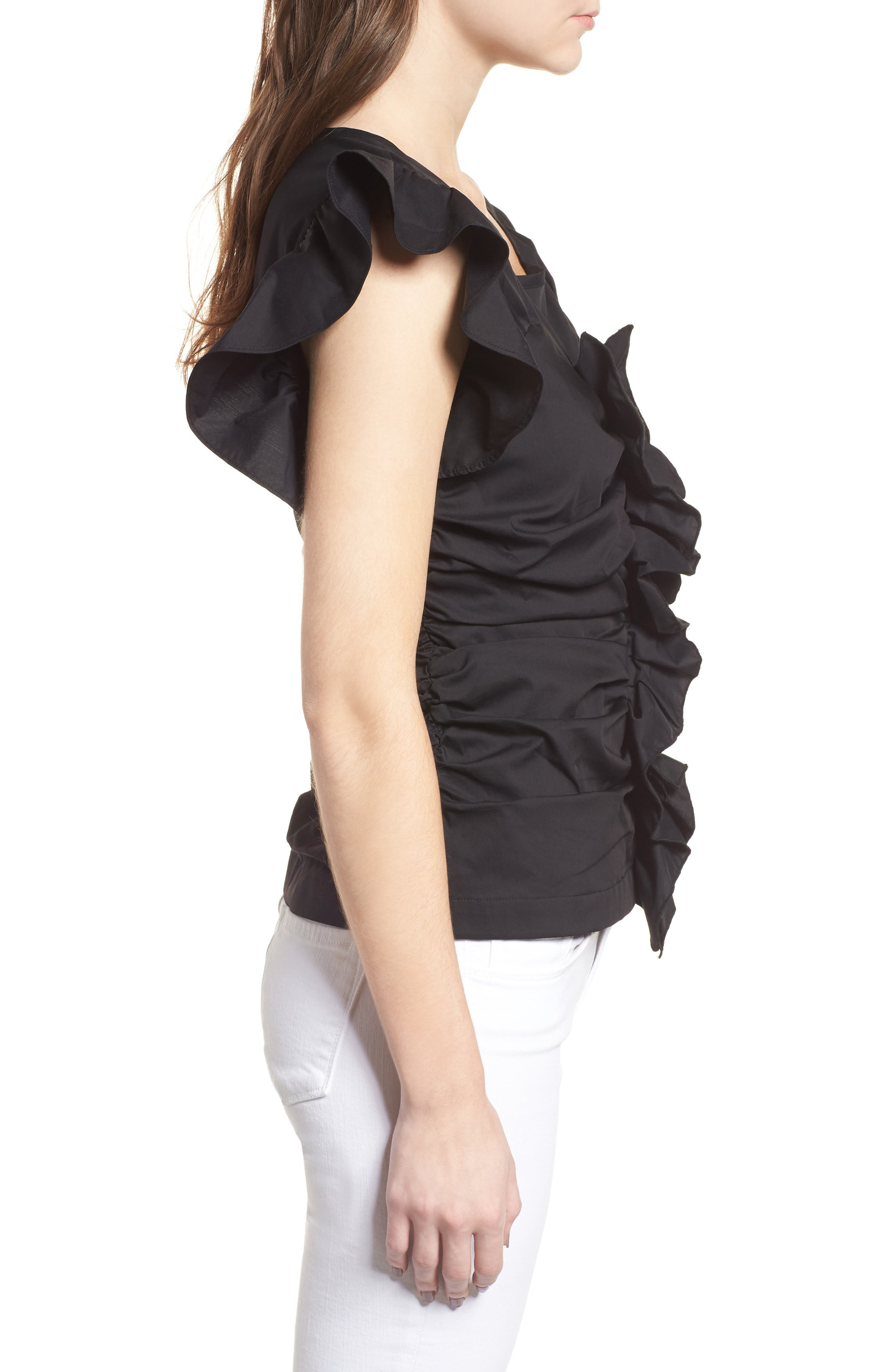 Ruched Poplin Top,                             Alternate thumbnail 3, color,                             001