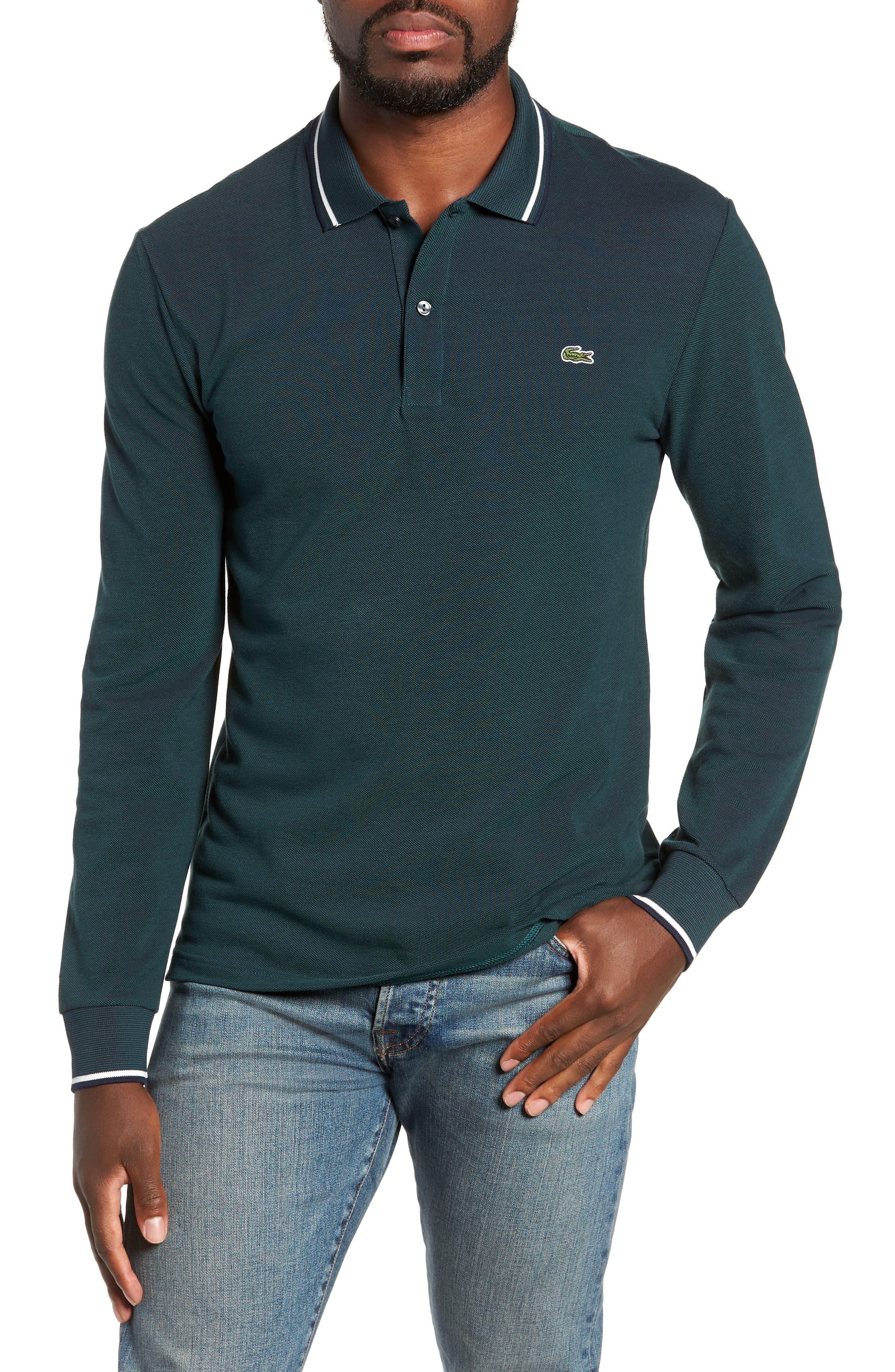 Slim Fit Long Sleeve Piqué Polo,                         Main,                         color, ACONITE/ DARK NAVY BLUE